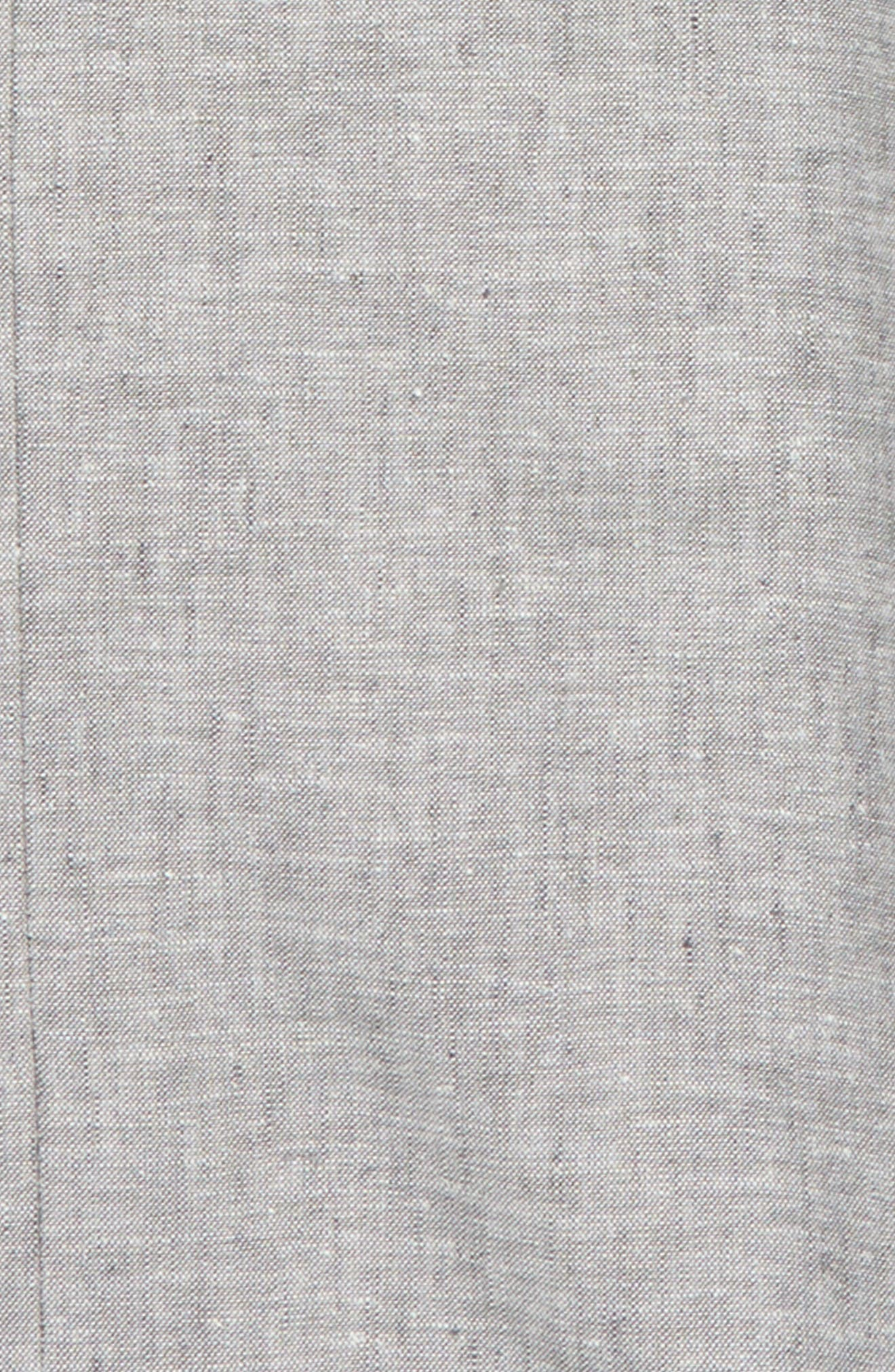 Elliott Flat Front Linen & Cotton Trousers,                             Alternate thumbnail 2, color,                             Grey Linen