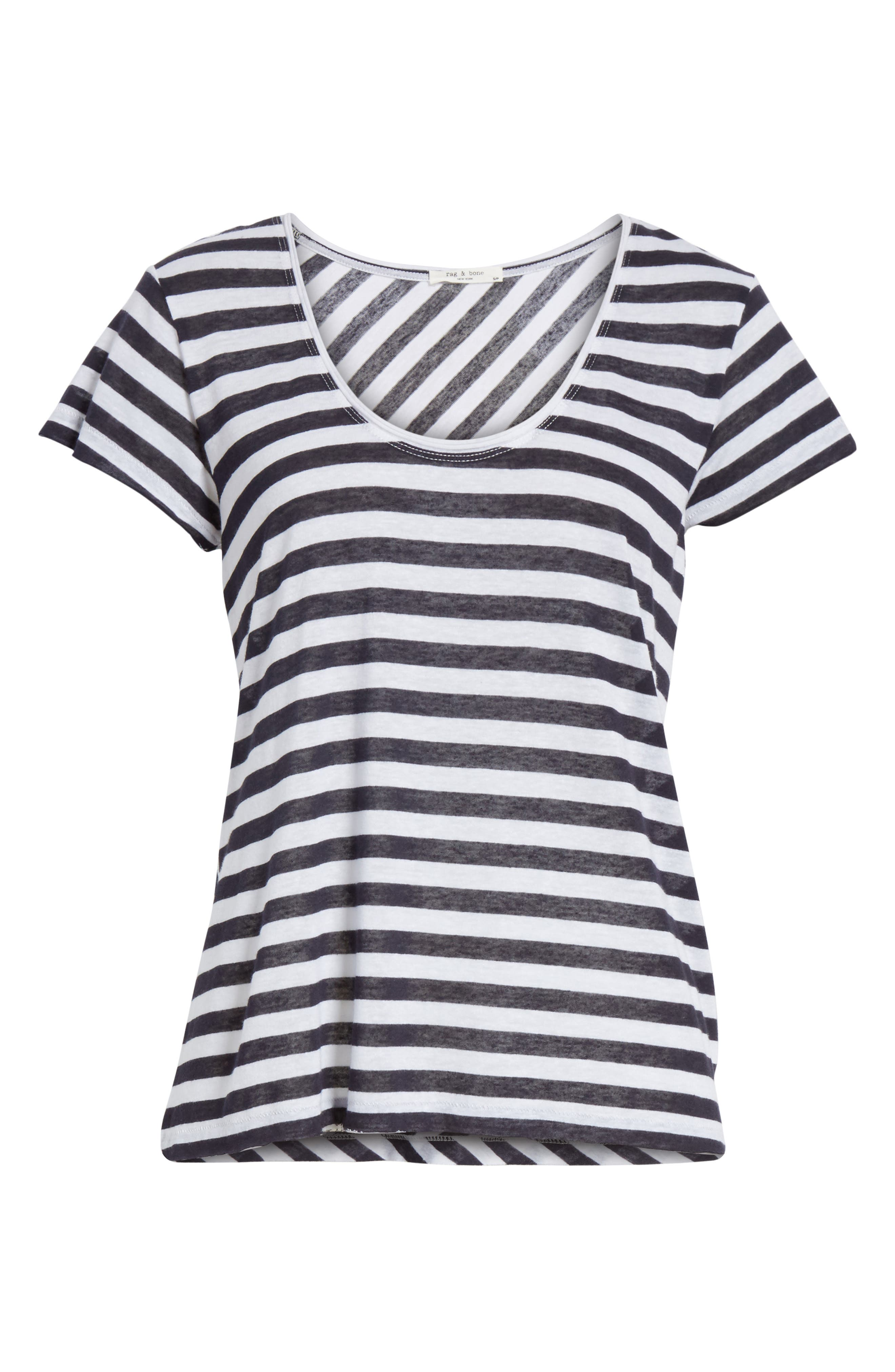 Laila Stripe Tee,                             Alternate thumbnail 6, color,                             Navy/ White