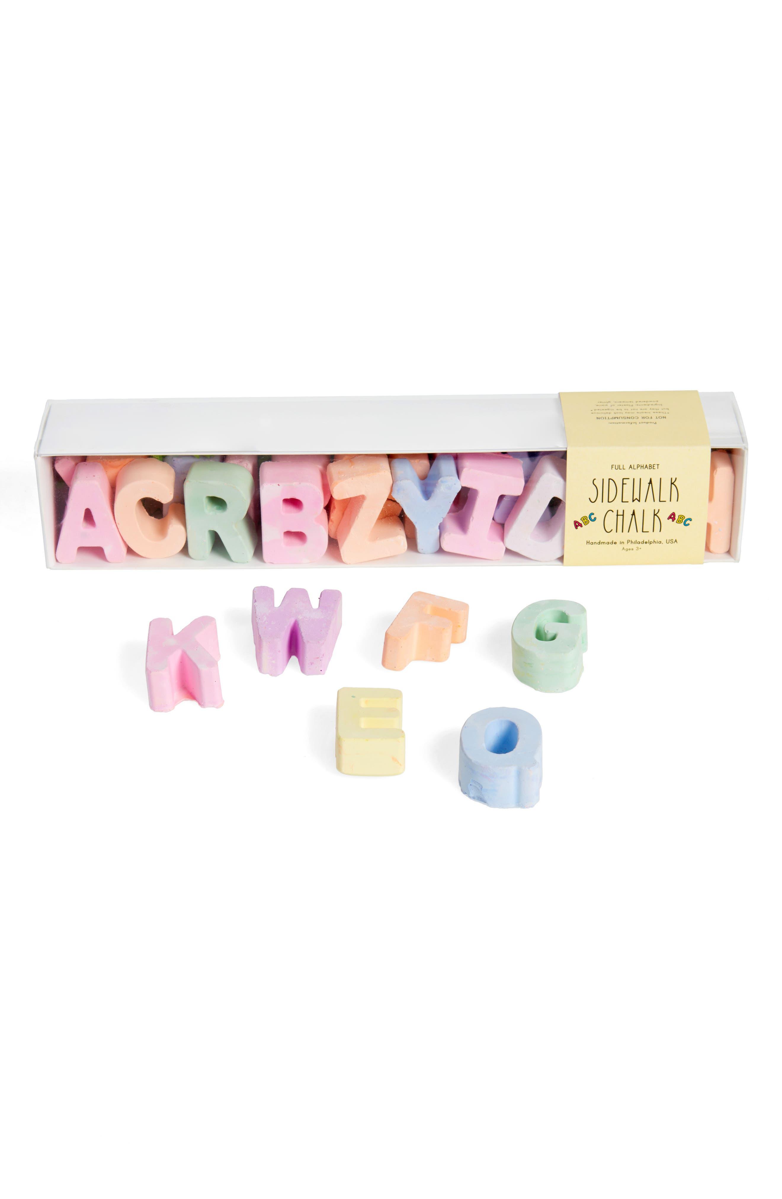 26-Piece Alphabet Sidewalk Chalk Set,                         Main,                         color, Assorted Colors
