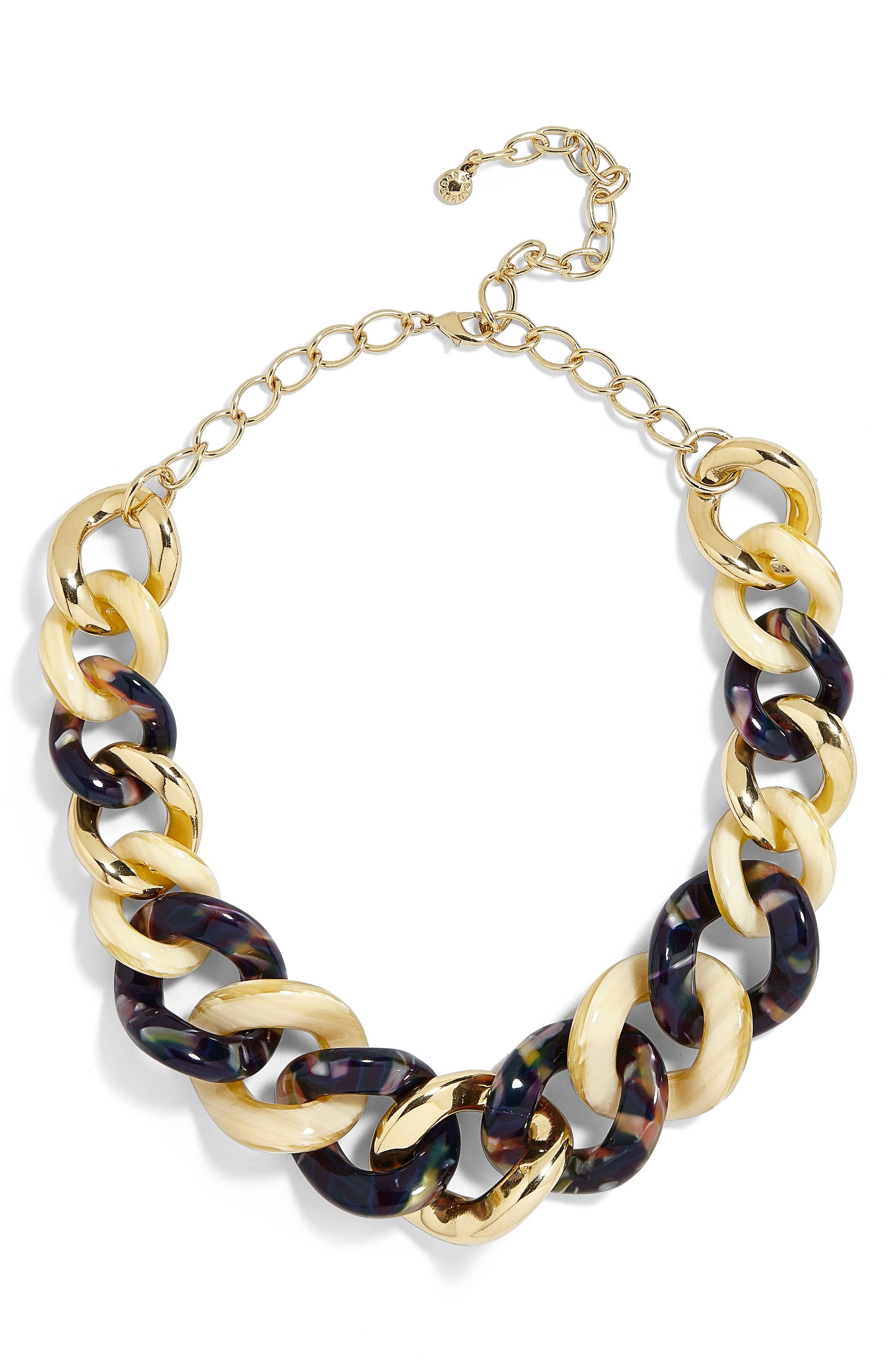 Fabia Mixed Media Link Necklace,                             Main thumbnail 1, color,                             Tortoise