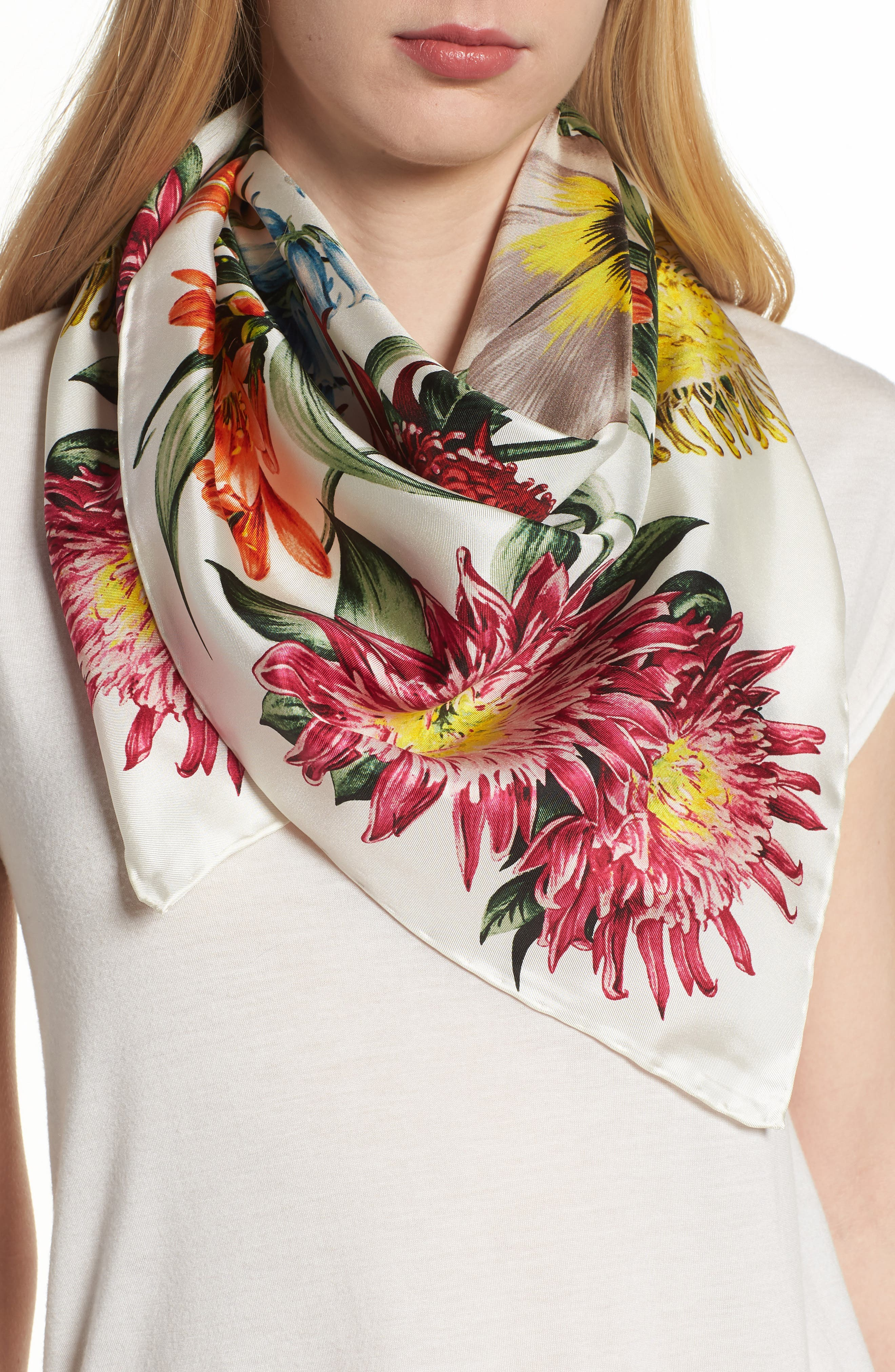 Blooms of Oceania Square Silk Scarf,                         Main,                         color, White Sand