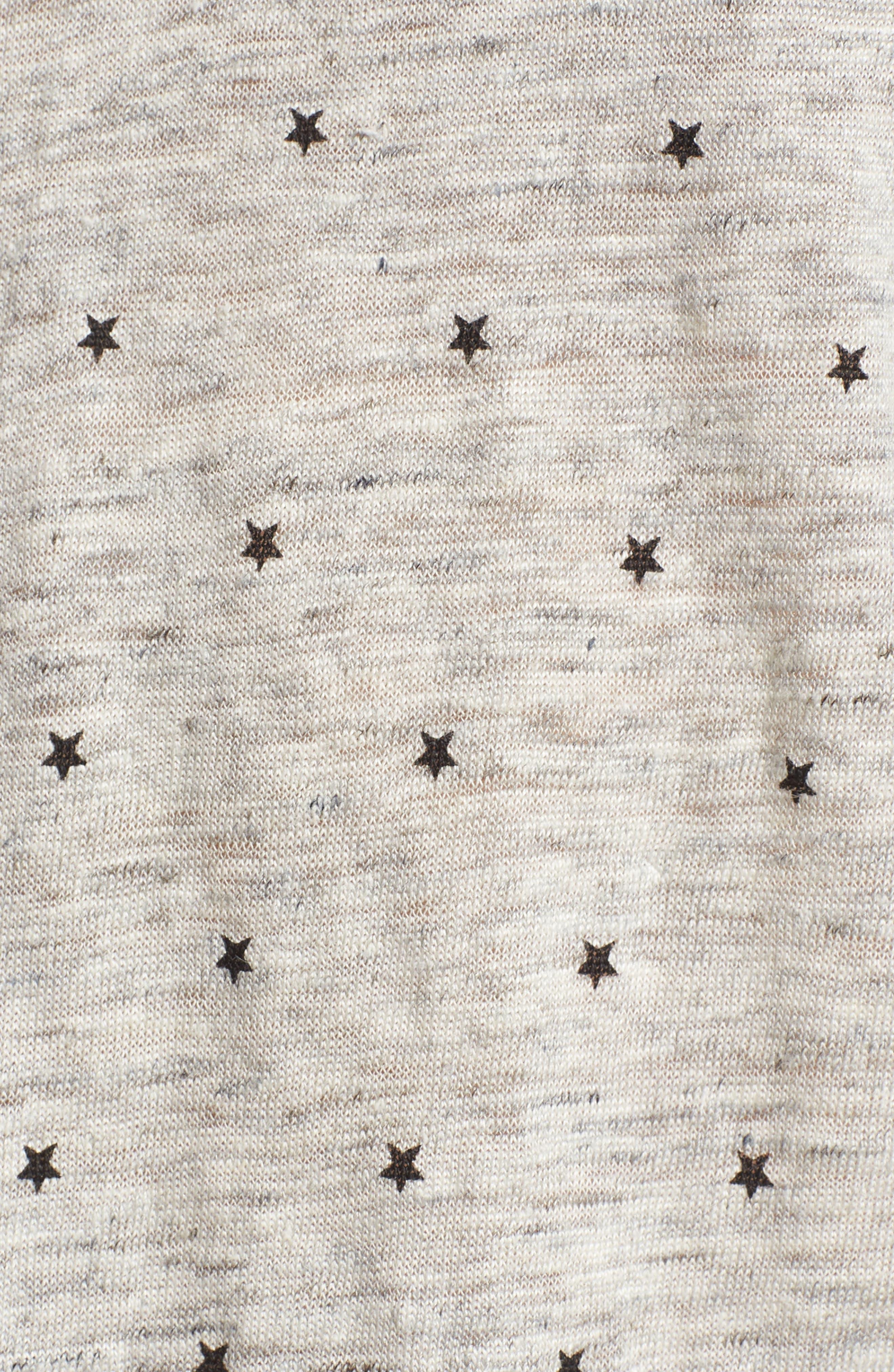 Cara Star Print V-Neck Tee,                             Alternate thumbnail 6, color,                             Black Stars