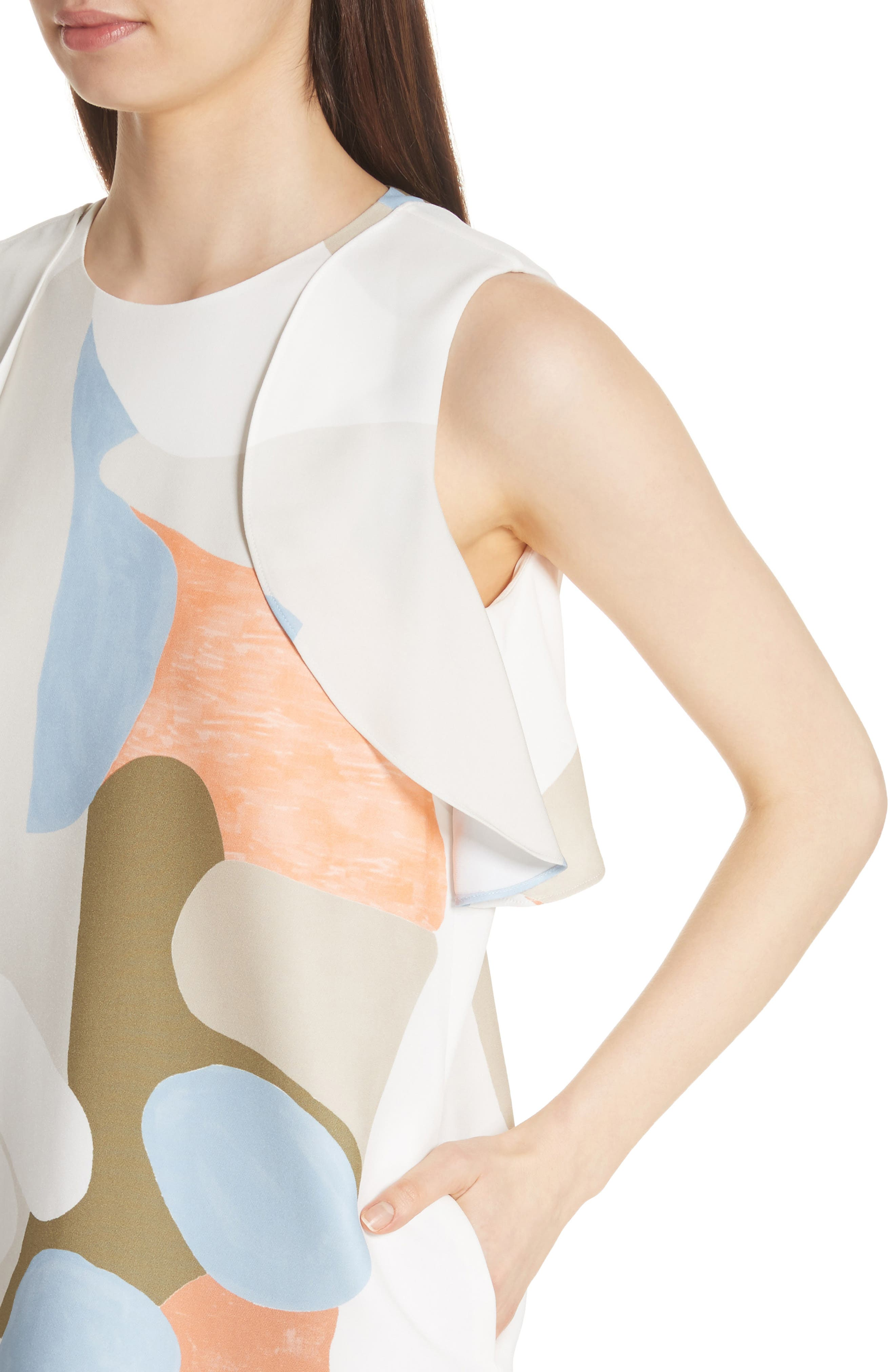 Landscape Expression Print Ruffle Dress,                             Alternate thumbnail 4, color,                             Cloud Multi