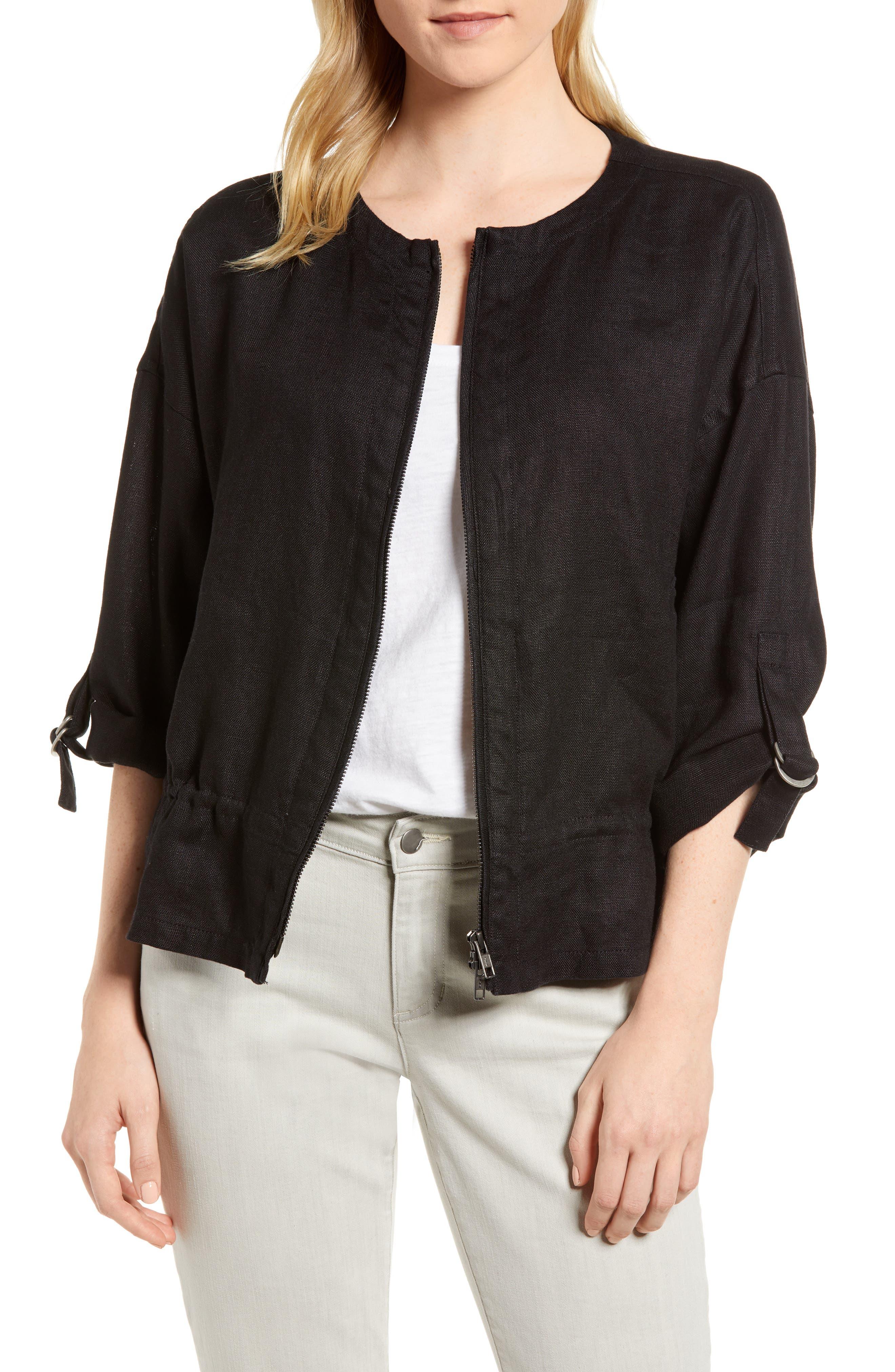 Drawstring Organic Linen Jacket,                             Main thumbnail 1, color,                             Black