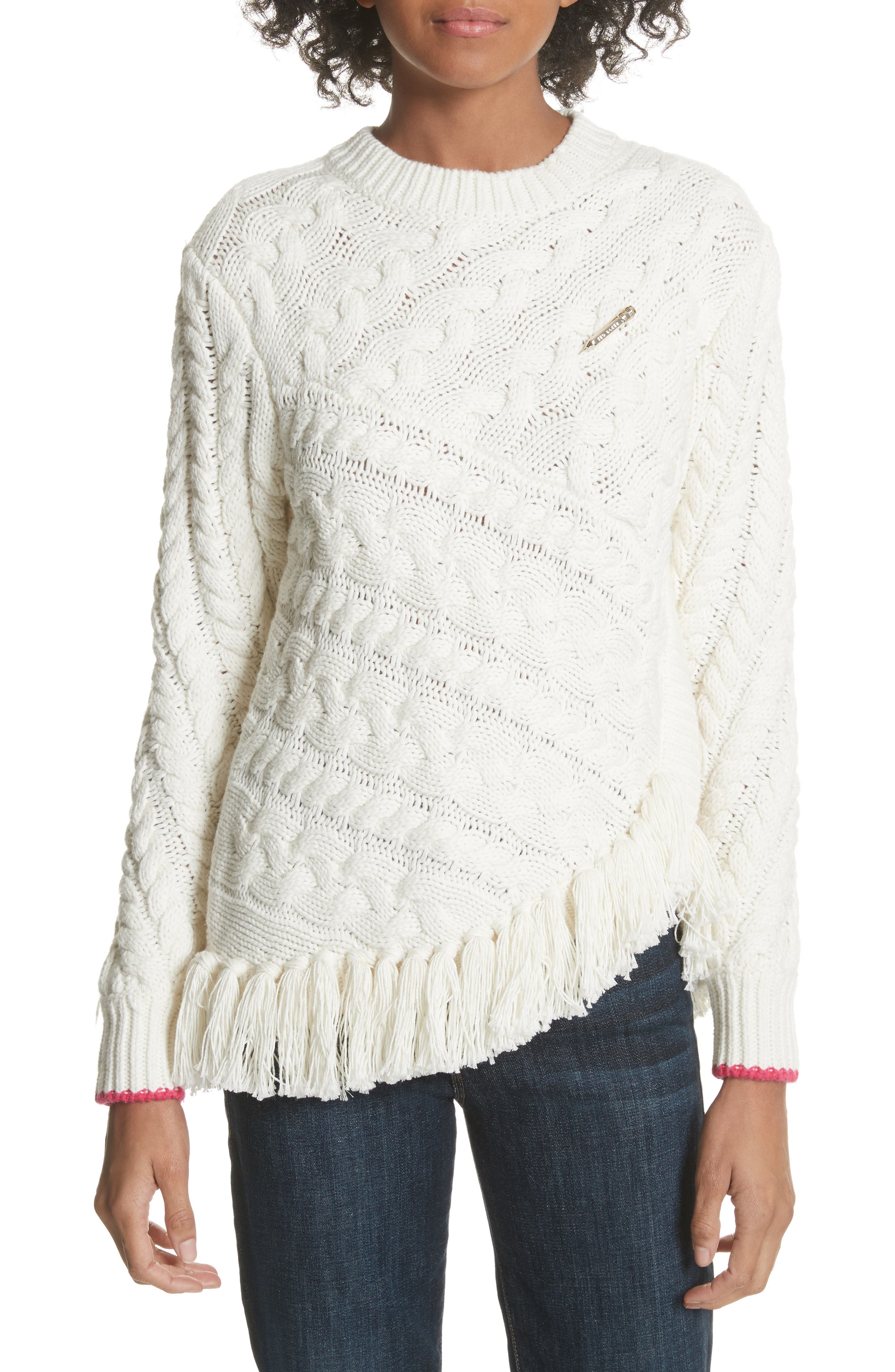 Colour by Numbers Jaia Fringe Sweater,                             Main thumbnail 1, color,                             White