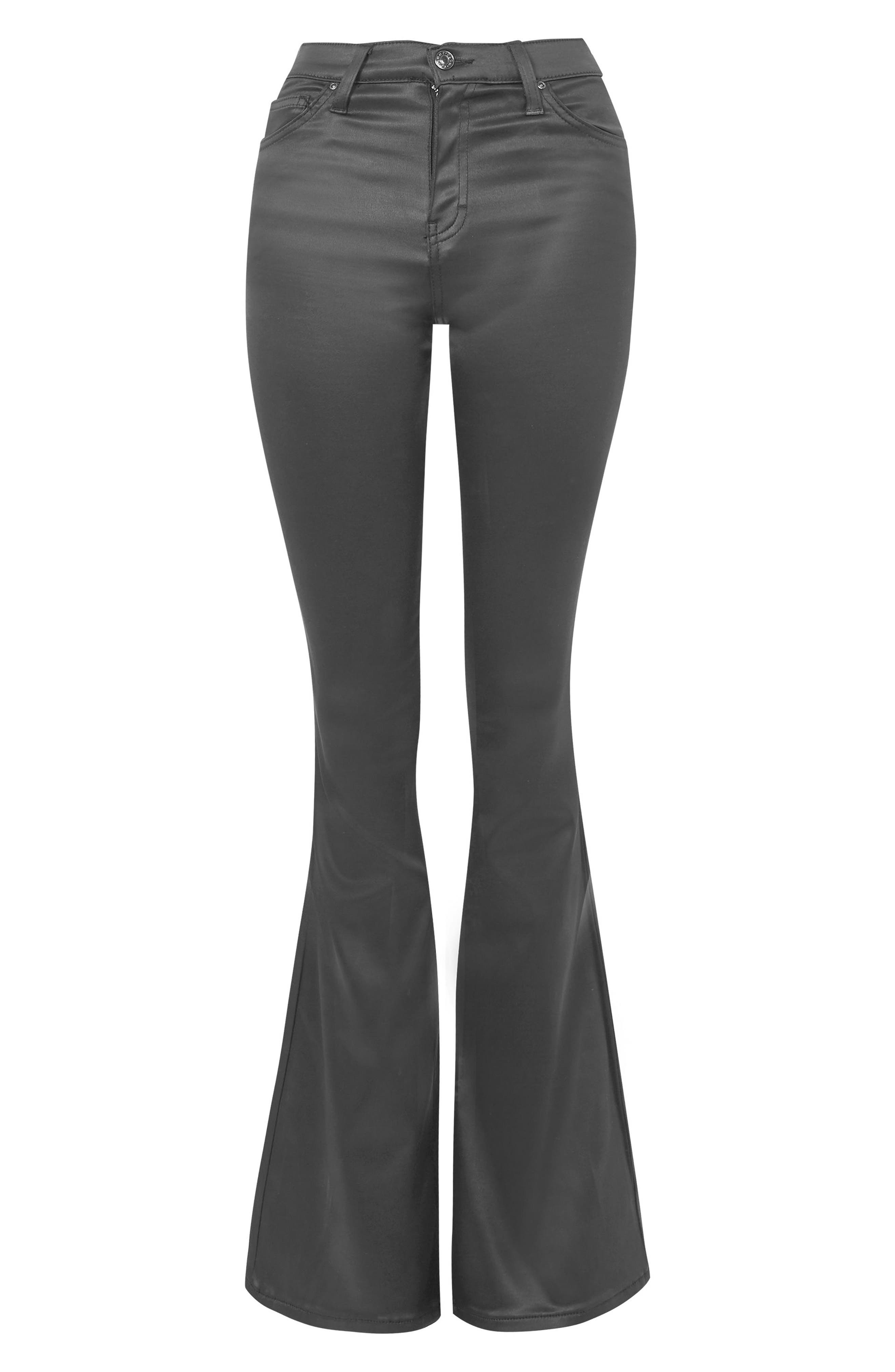 Jamie Sateen Flare Jeans,                             Alternate thumbnail 4, color,                             Black
