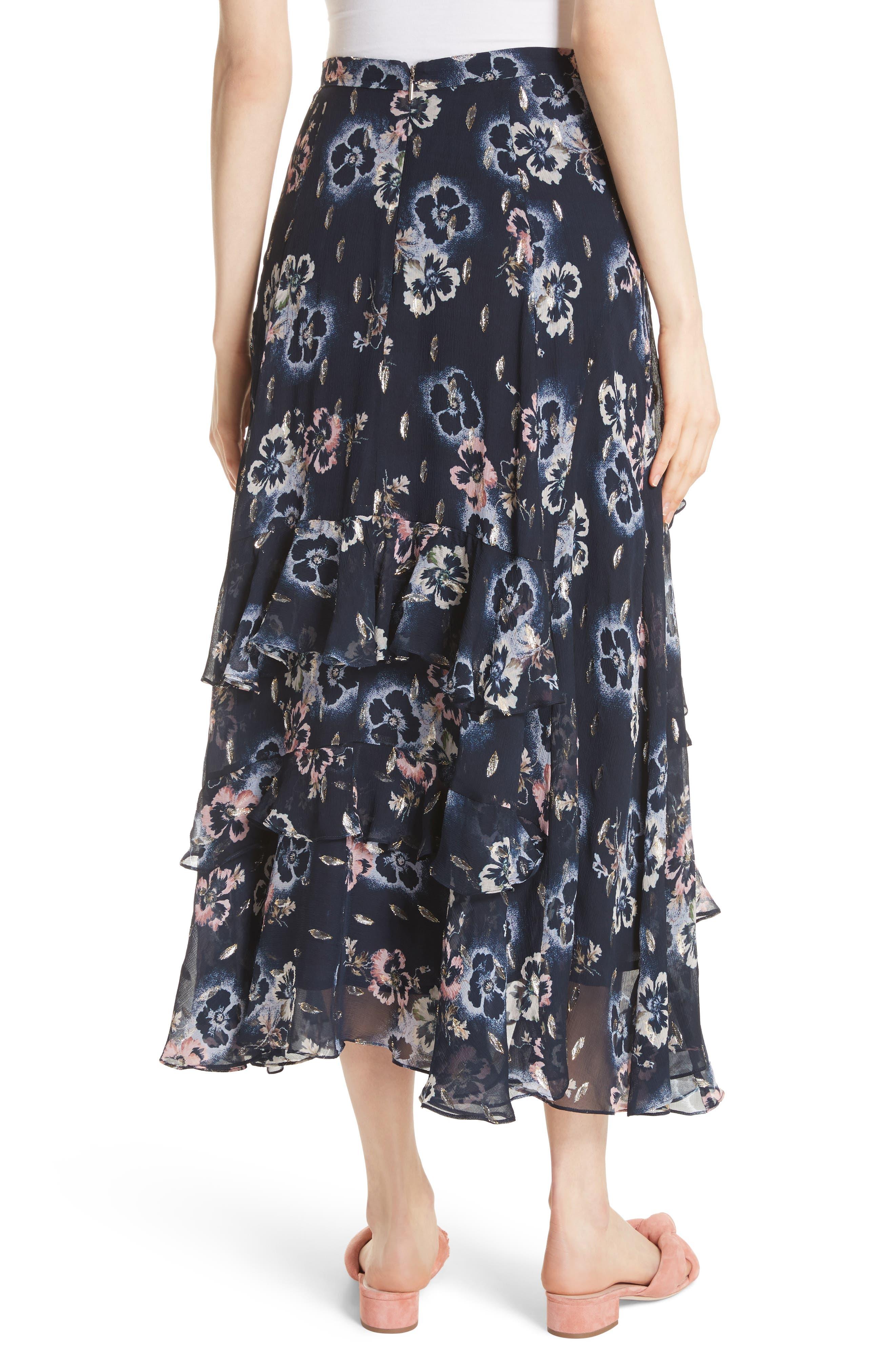 Faded Floral Midi Skirt,                             Alternate thumbnail 2, color,                             Navy