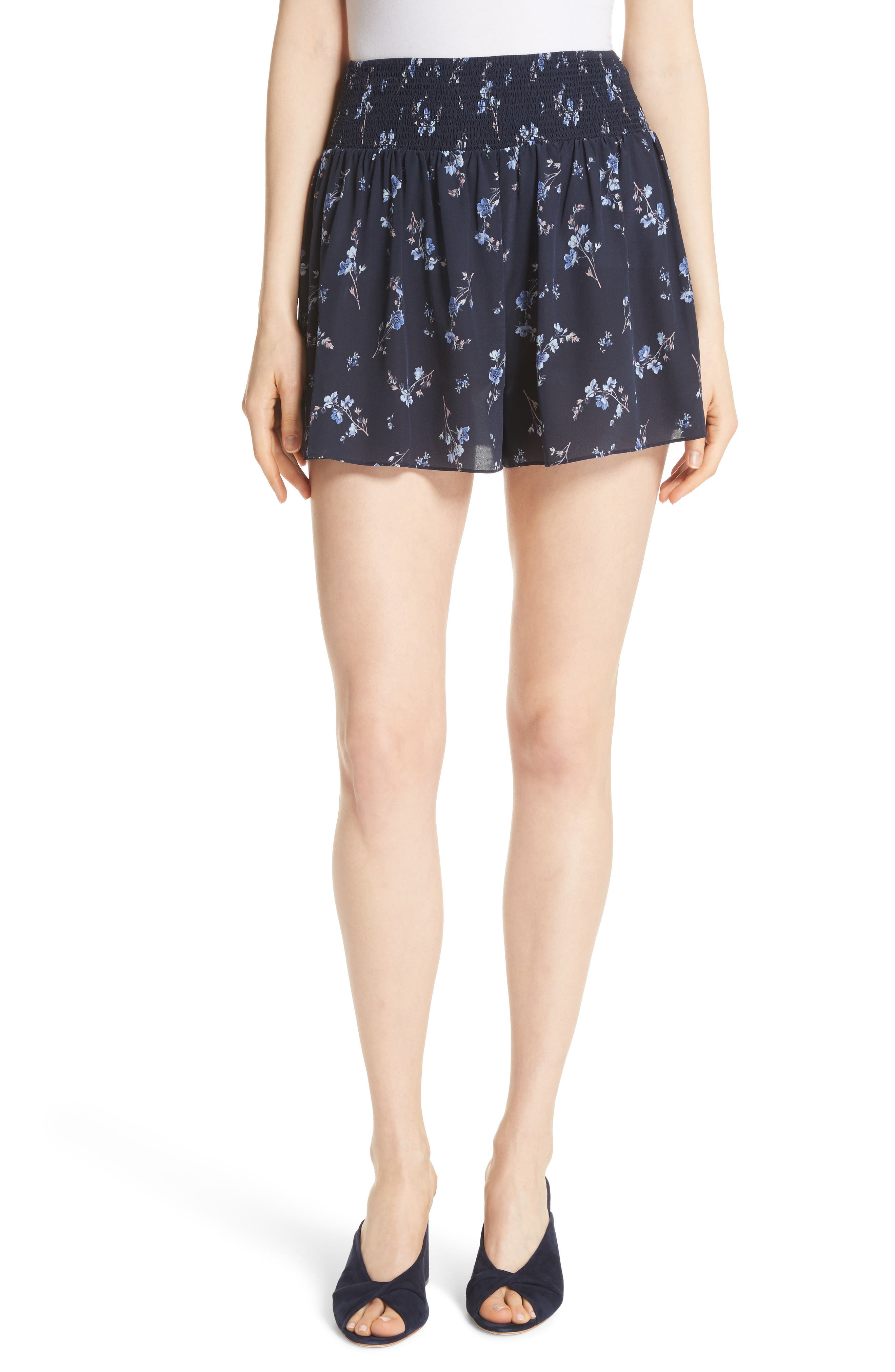 Alternate Image 1 Selected - Rebecca Taylor Francine Floral Silk Shorts