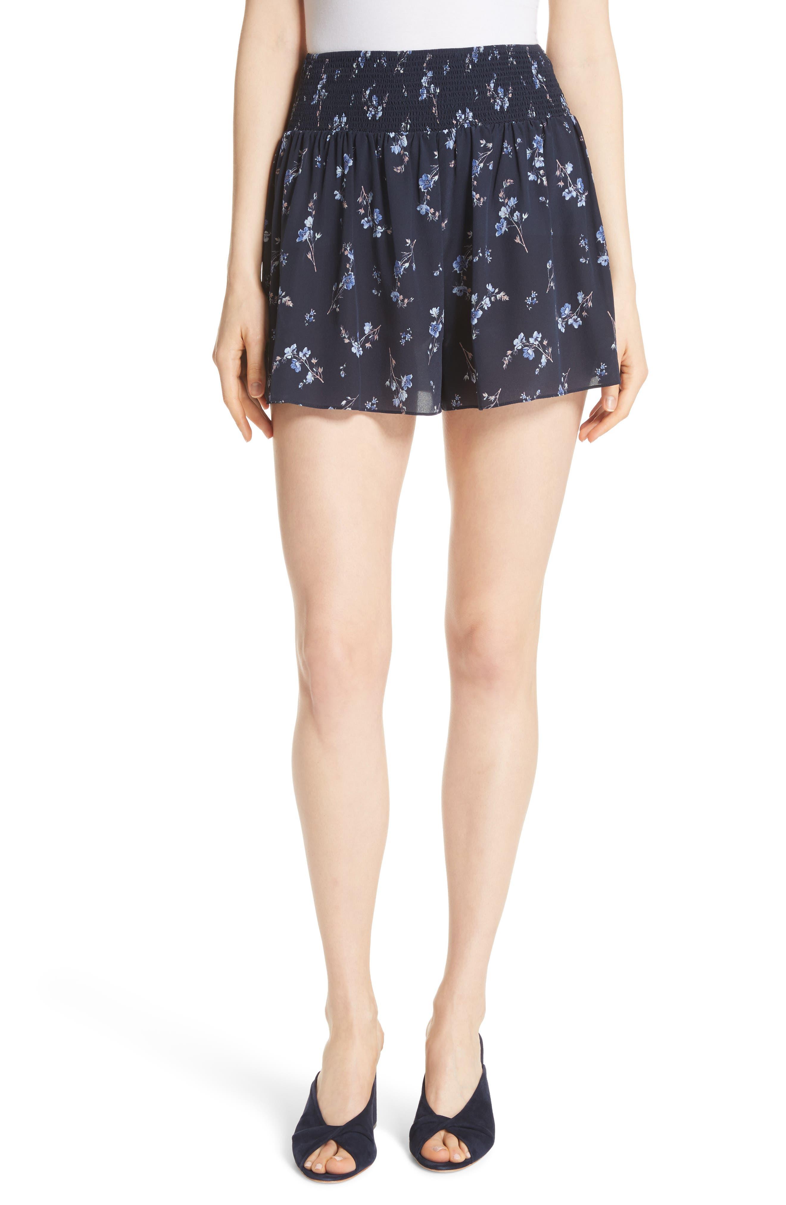 Francine Floral Silk Shorts,                         Main,                         color, Navy Combo