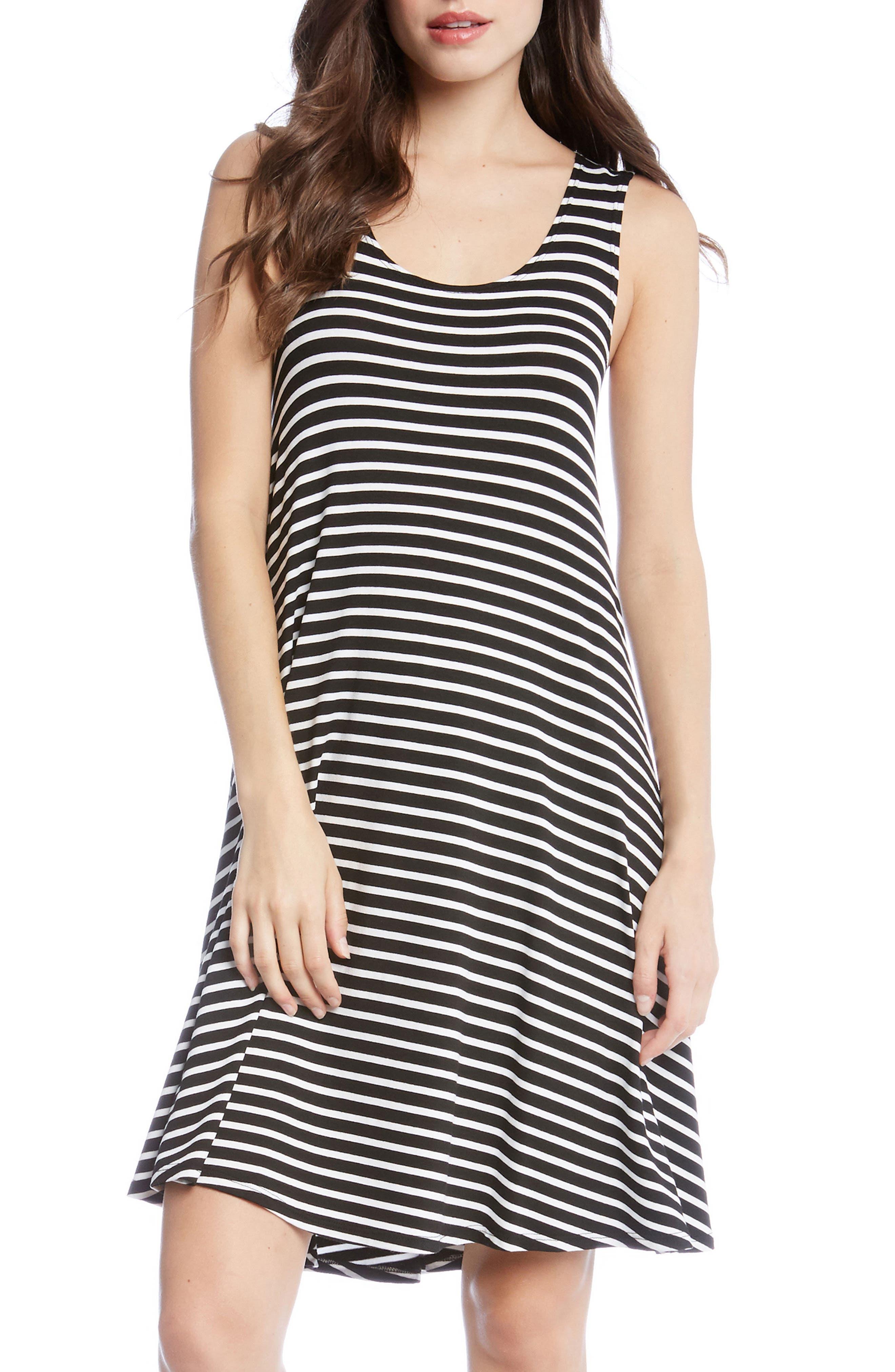 Stripe A-Line Dress,                             Main thumbnail 1, color,                             Stripe