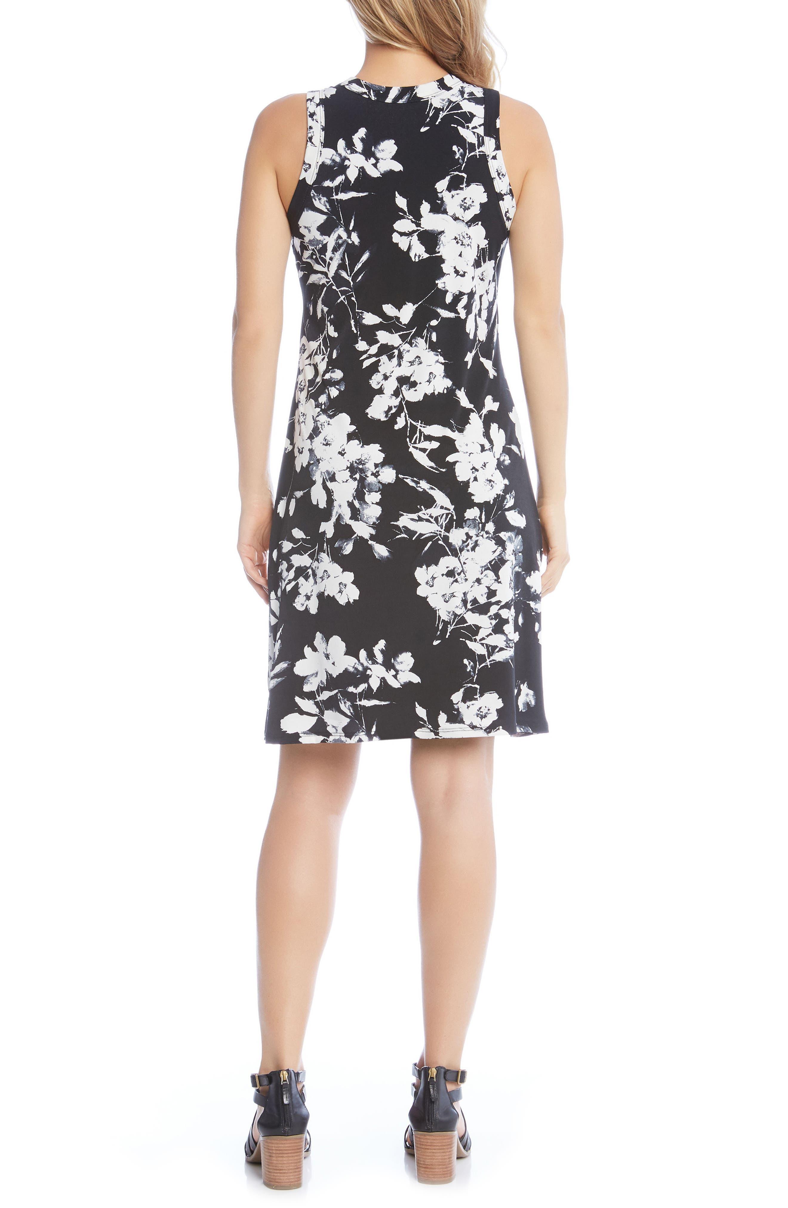 Floral Print Knit Dress,                             Alternate thumbnail 2, color,                             Black/ Off White