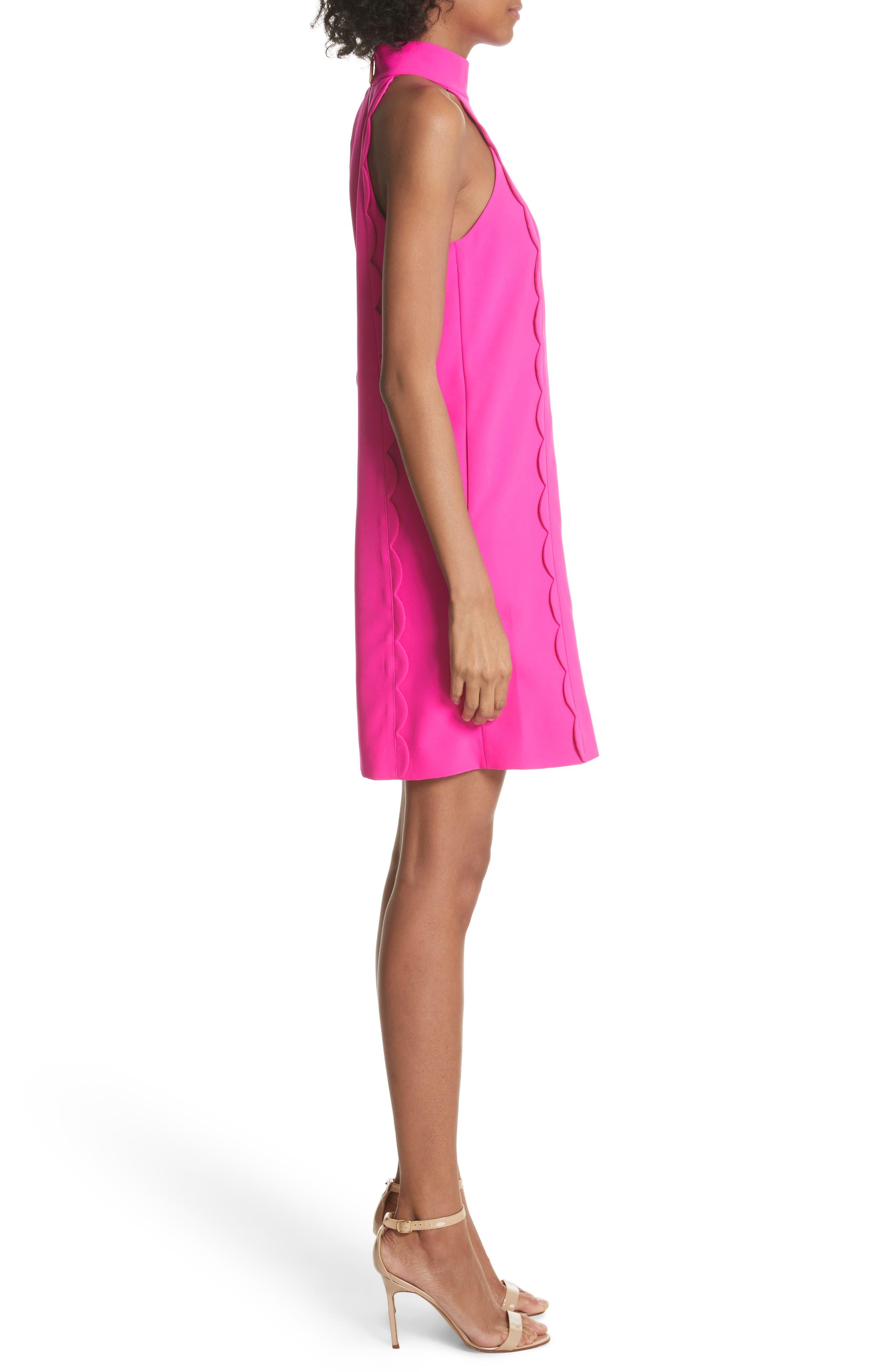 Torrii High Neck Tunic Dress,                             Alternate thumbnail 3, color,                             Bright Pink