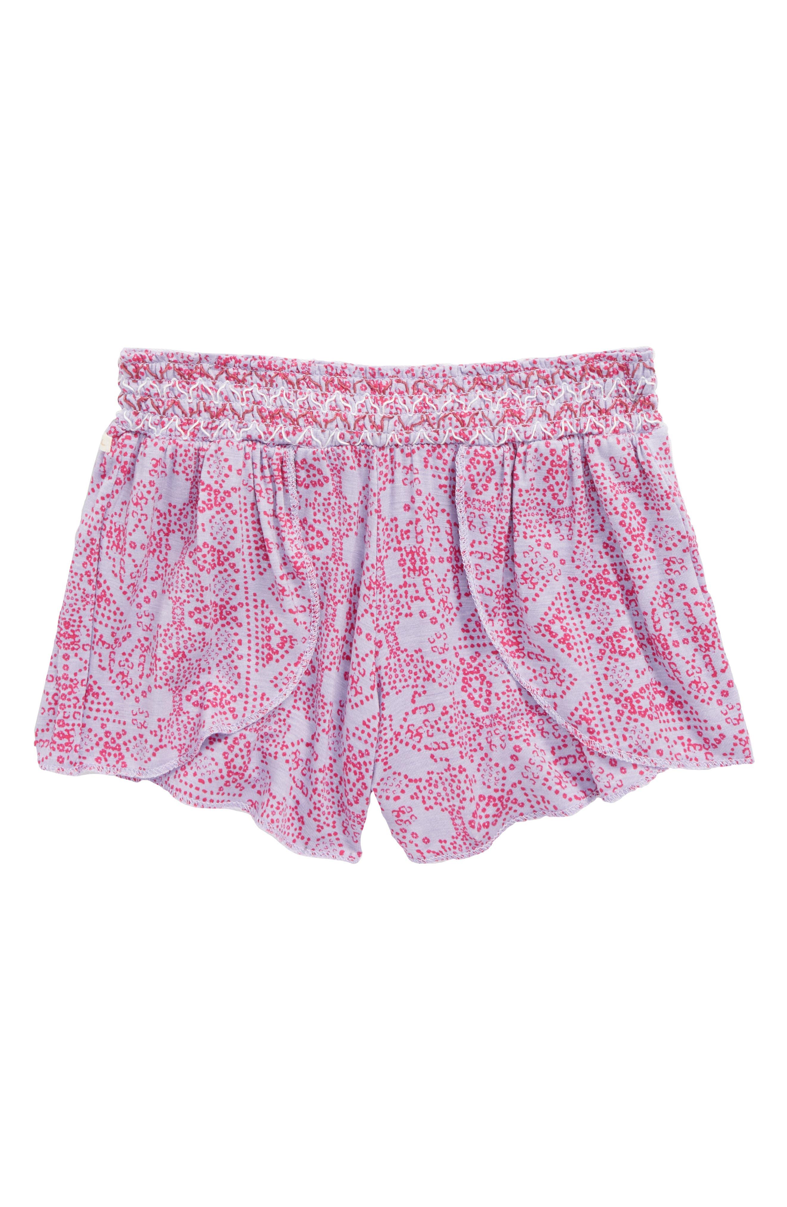 Dulce Smocked Shorts,                             Main thumbnail 1, color,                             Heriloom Lilac - Lav