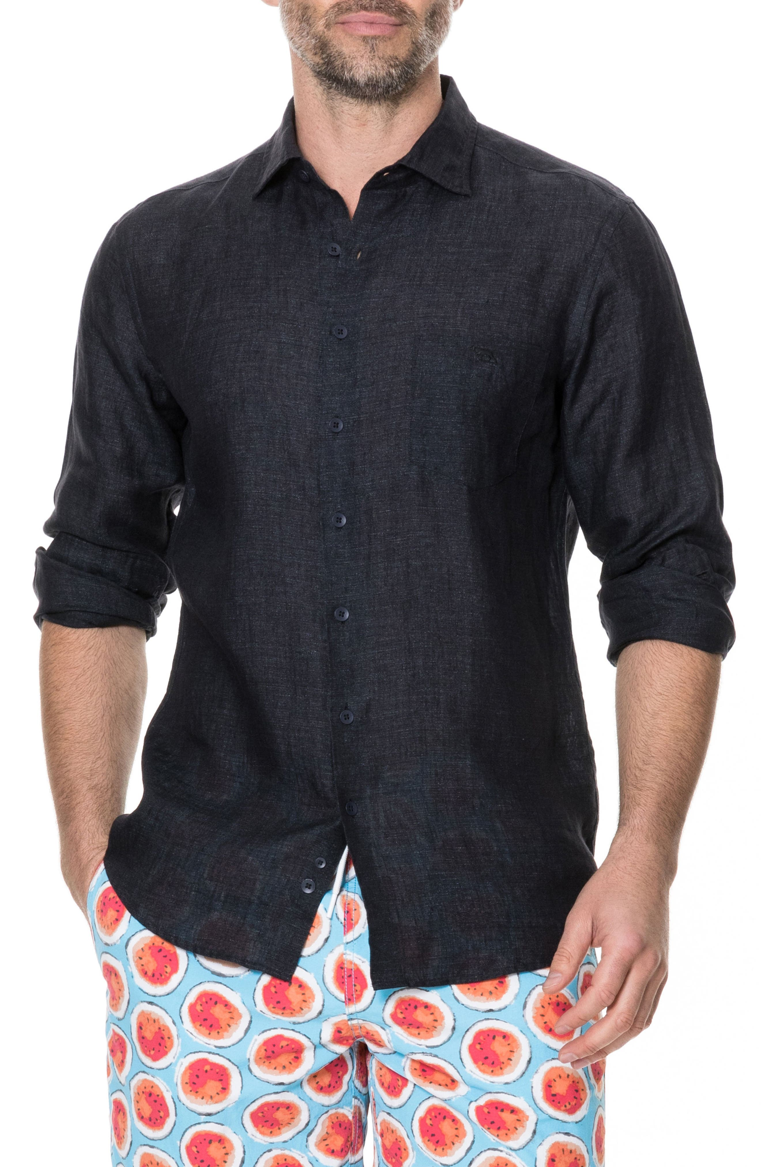 Landsdown Regular Fit Linen Sport Shirt,                         Main,                         color, Charcoal