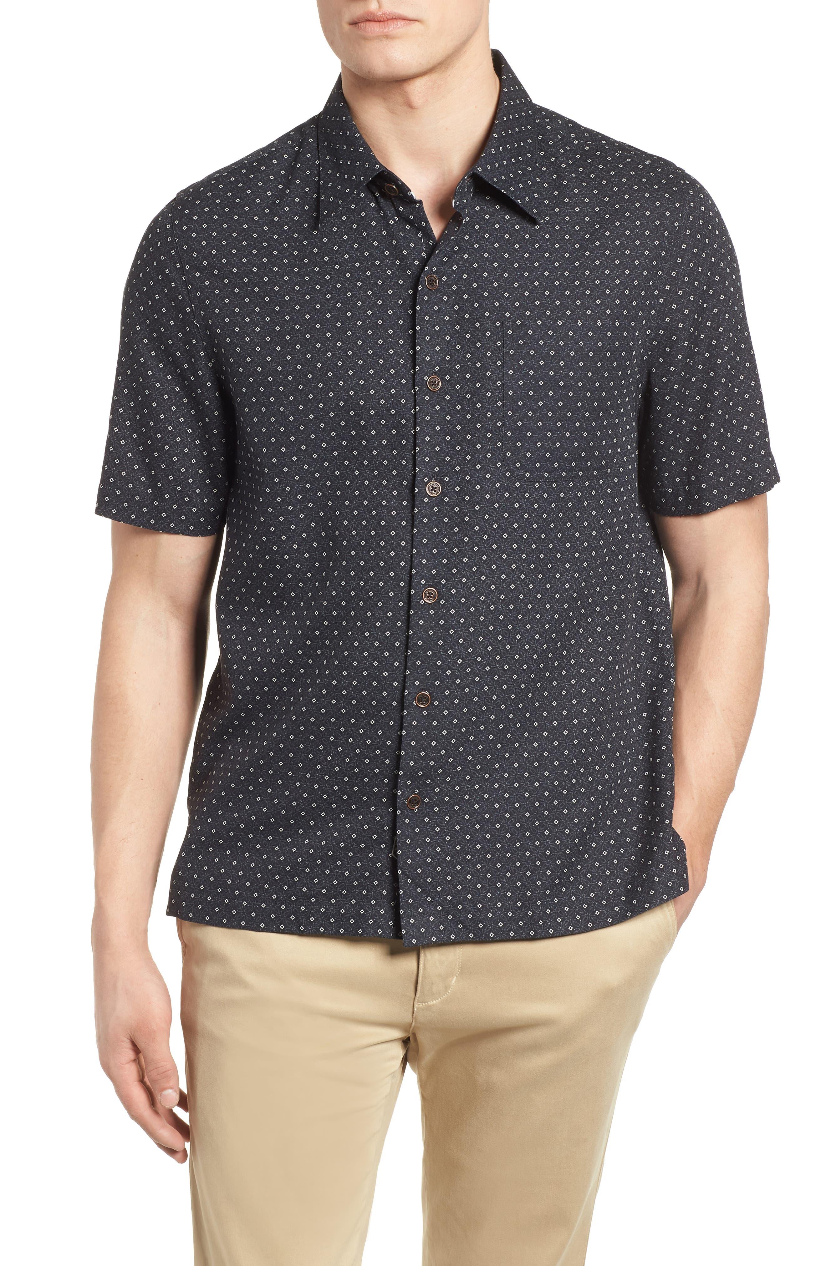 Fleural Camp Shirt,                             Main thumbnail 1, color,                             Black