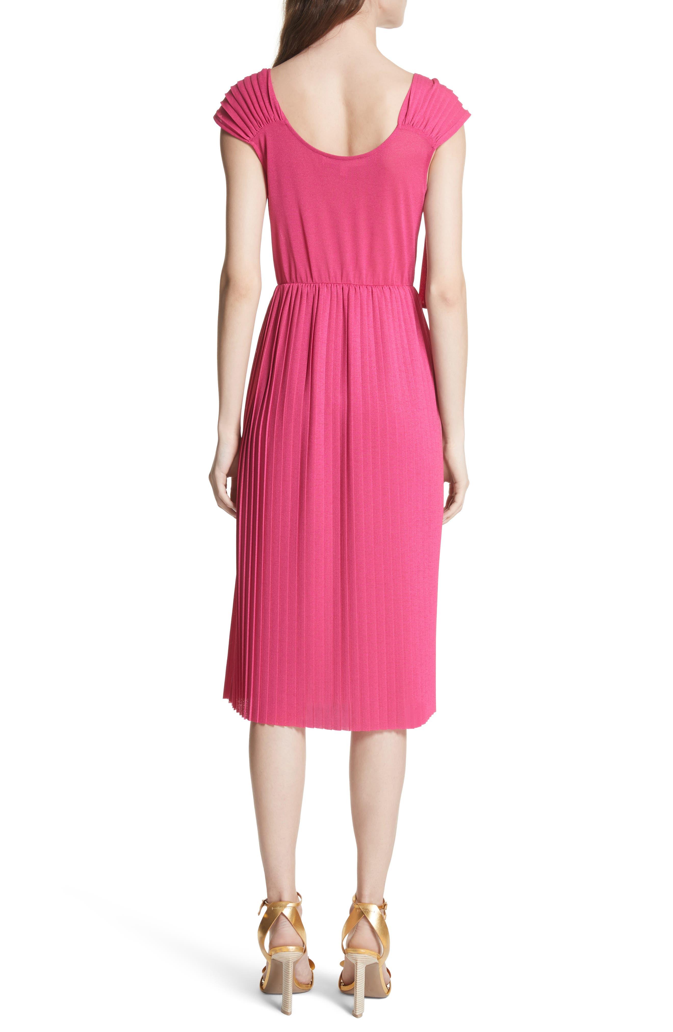 Grecian Pleat Dress,                             Alternate thumbnail 2, color,                             Cyclamen