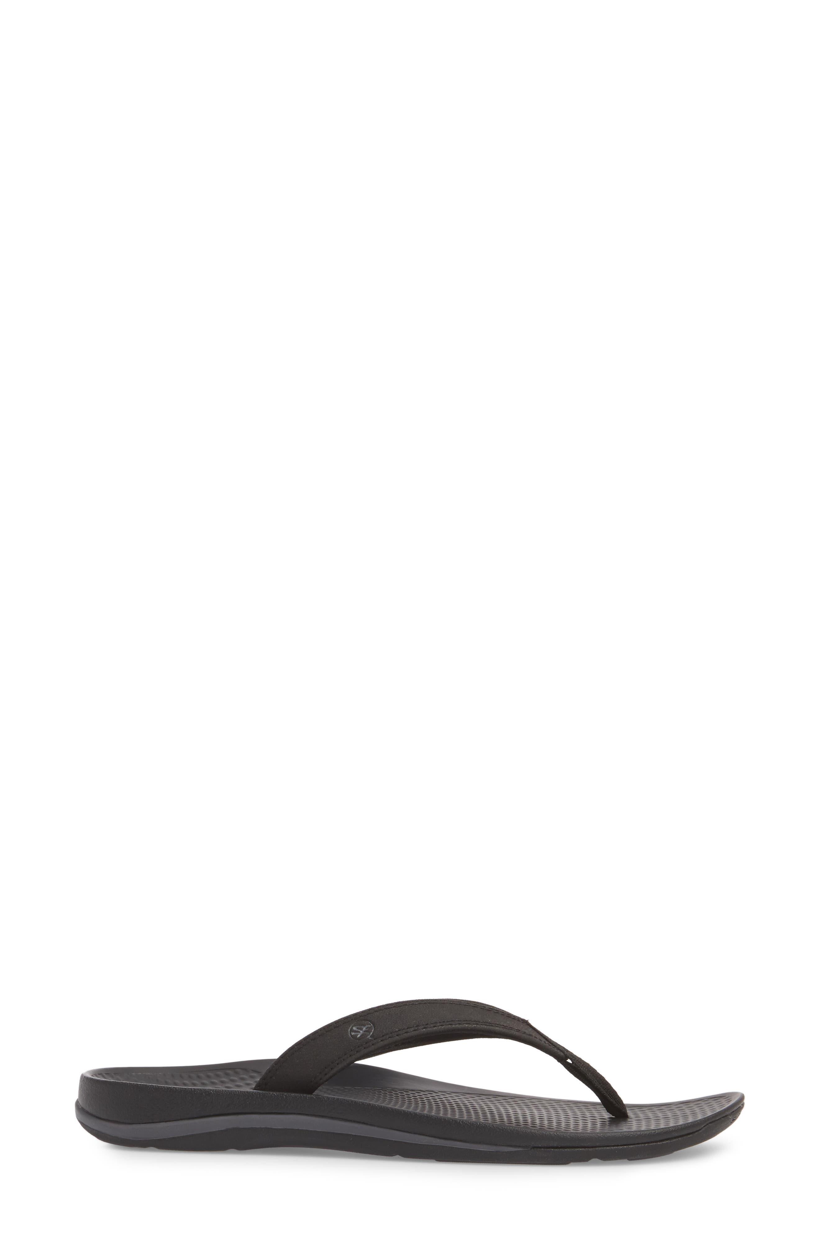 Outside 2.0 Flip Flop,                             Alternate thumbnail 3, color,                             Black Faux Leather