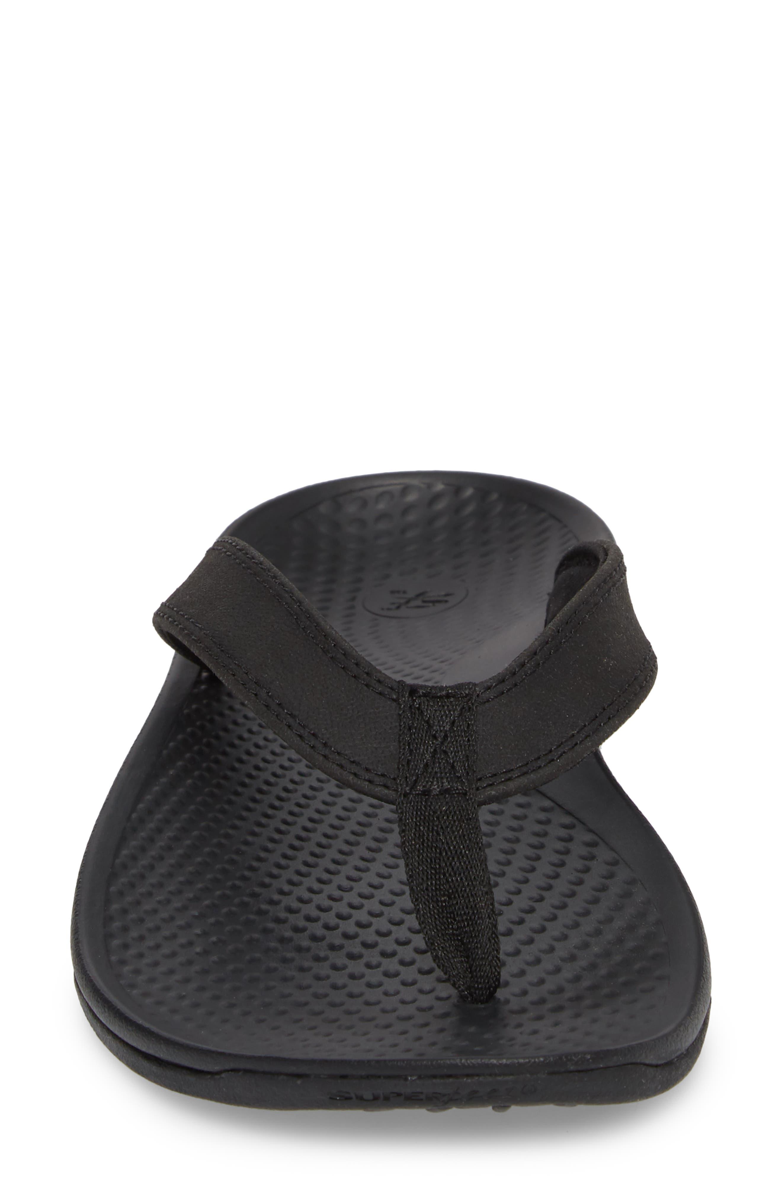 Outside 2.0 Flip Flop,                             Alternate thumbnail 4, color,                             Black Faux Leather