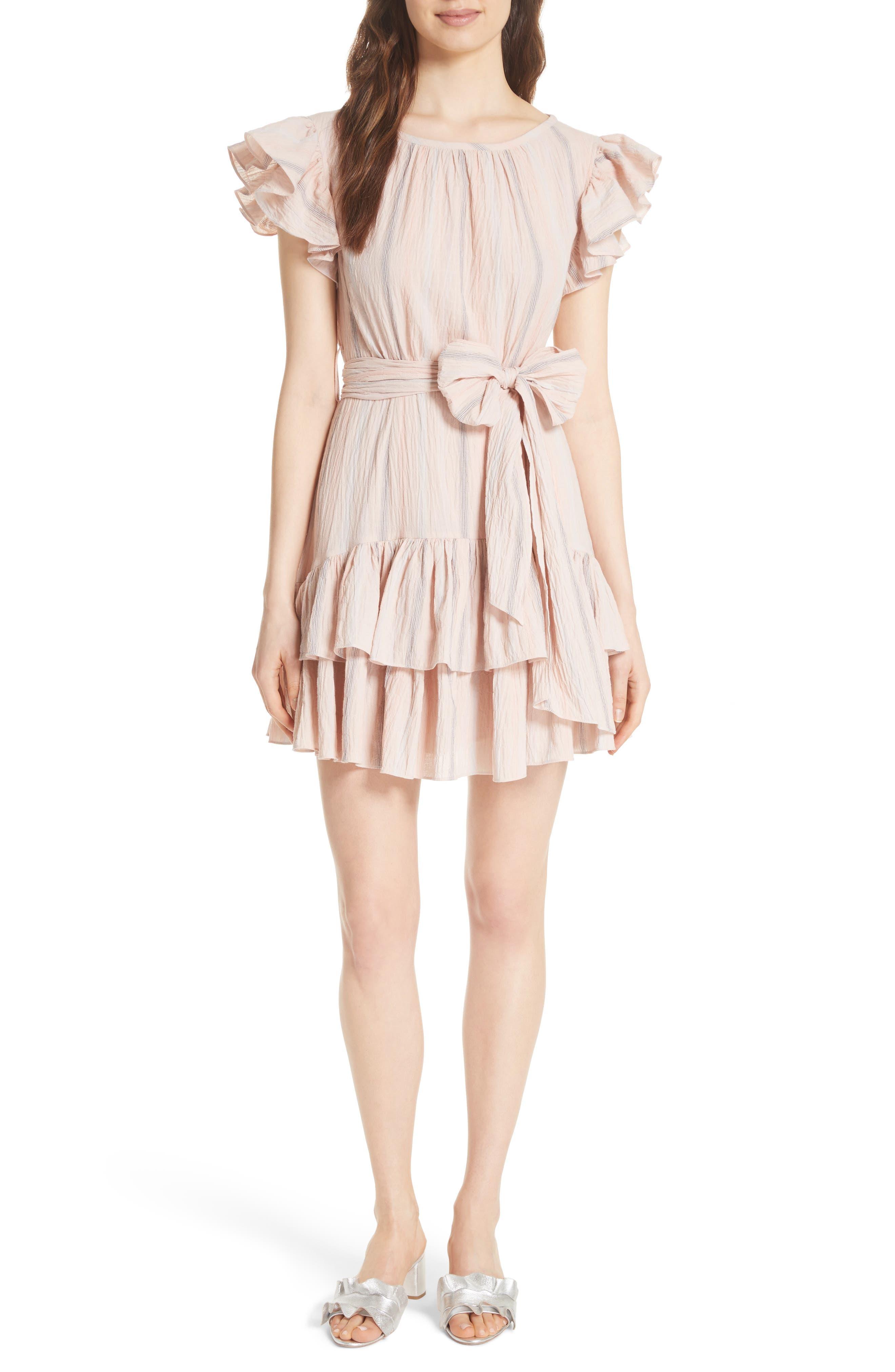 Stripe Ruffle Cap Sleeve Dress,                             Main thumbnail 1, color,                             Ballet Combo