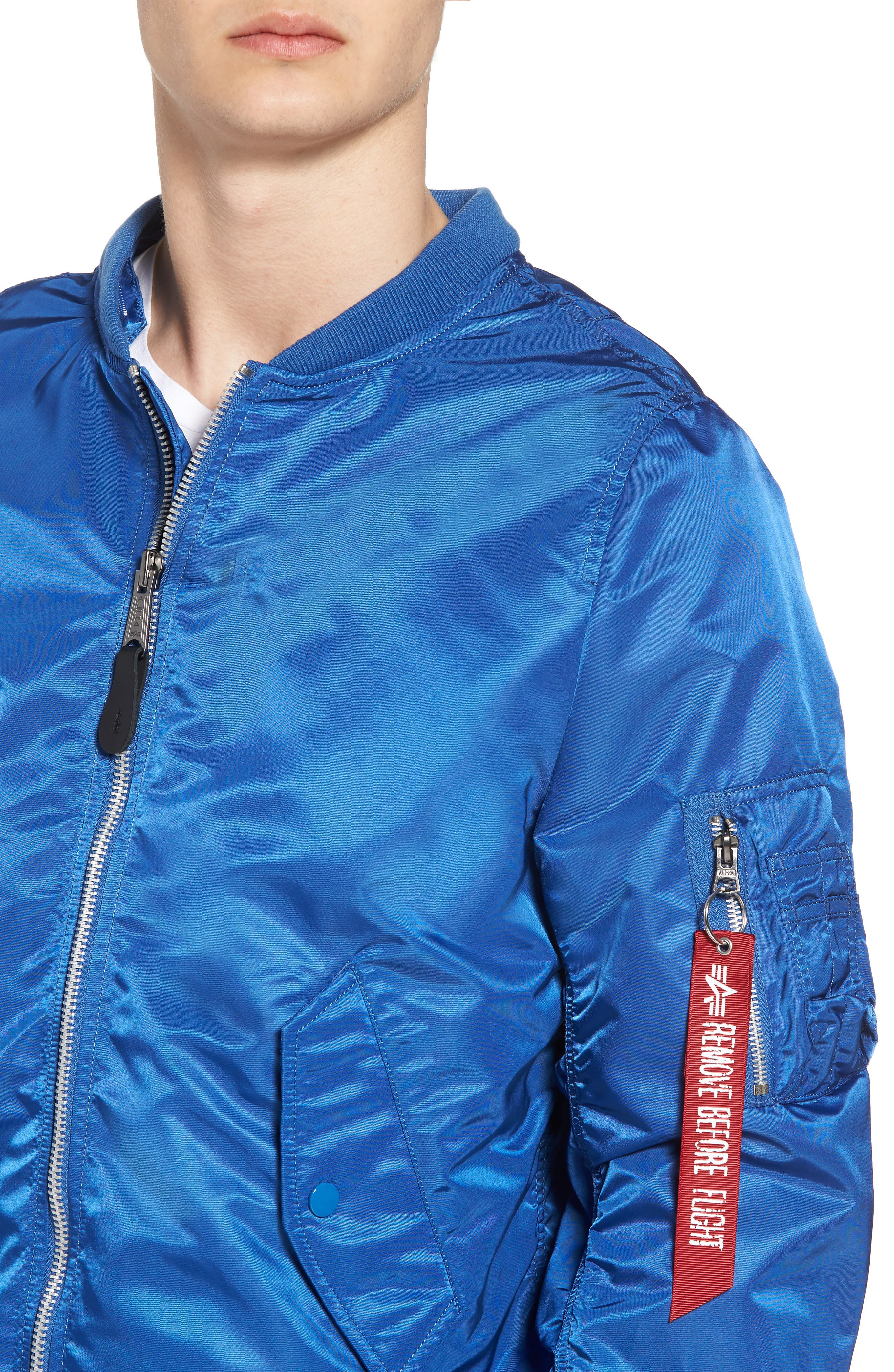 L-2B Natus Water Resistant Flight Jacket,                             Alternate thumbnail 4, color,                             Pacific Blue