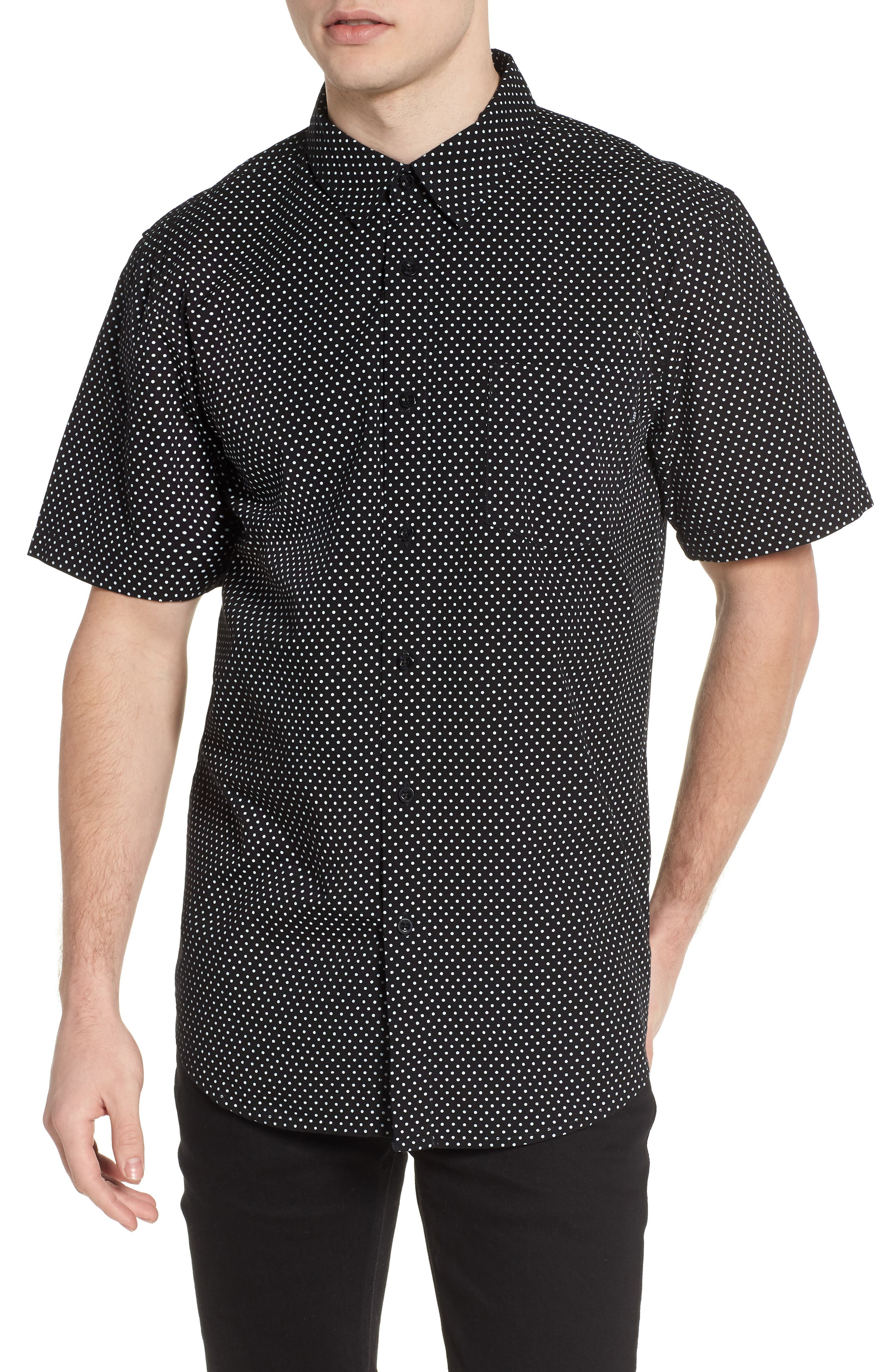 Brozwell Short Sleeve Shirt,                             Main thumbnail 1, color,                             Black Multi