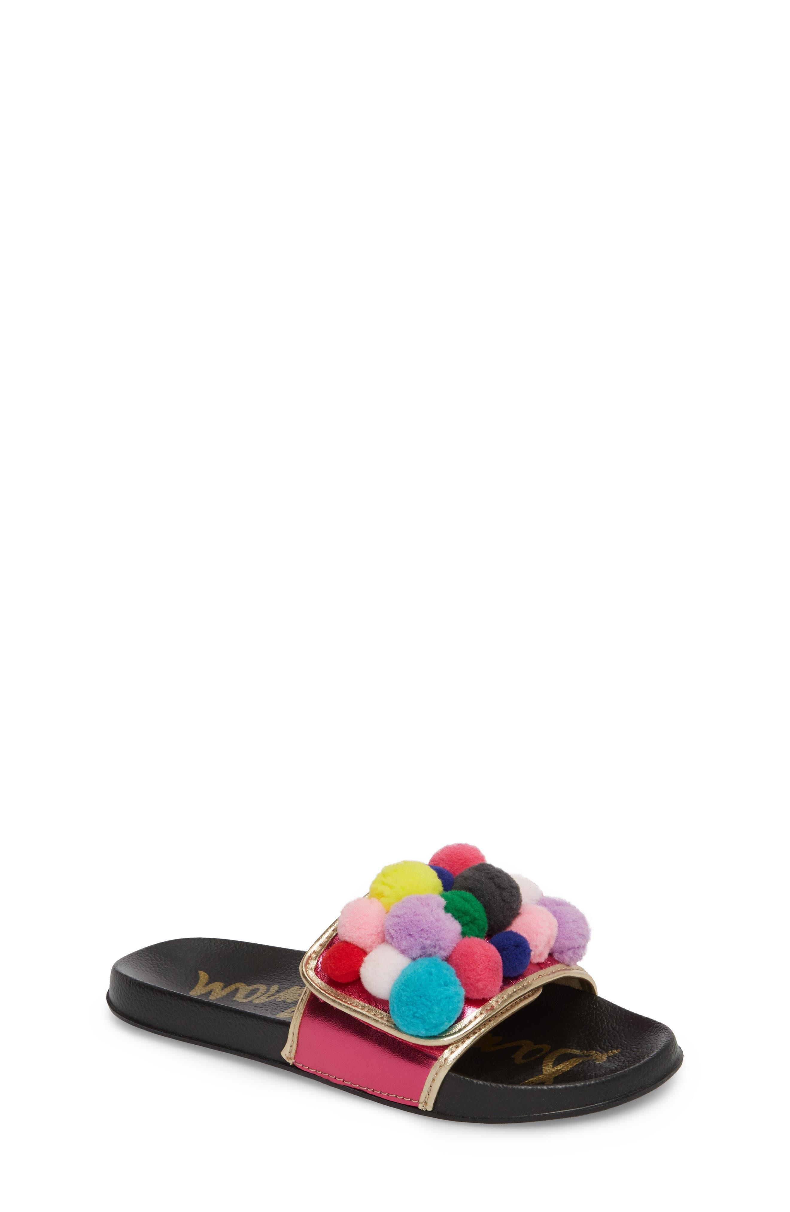 Faux Fur Mackie Cayman Sandal,                             Main thumbnail 1, color,                             Hot Pink Multi