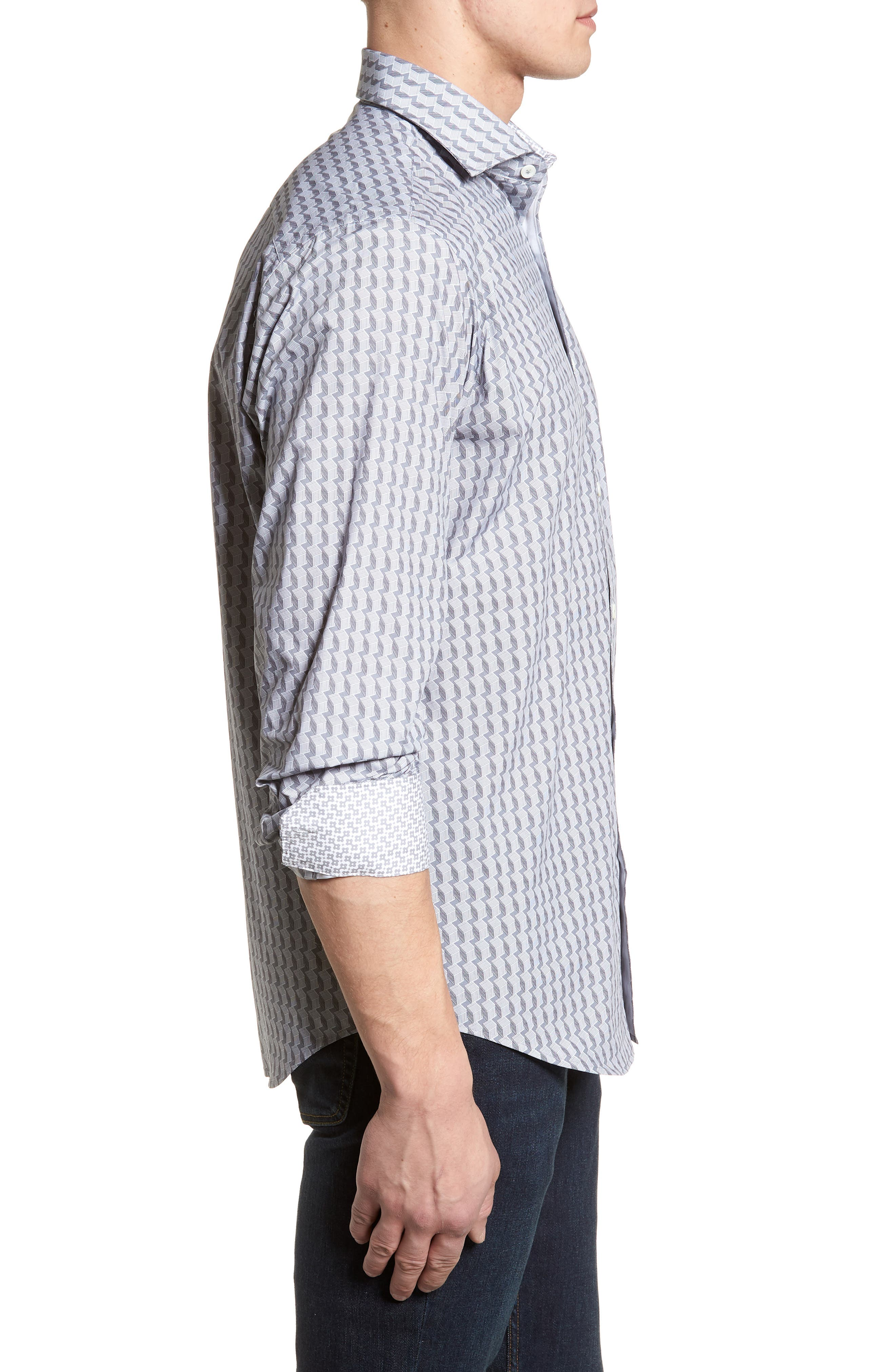 Classic Fit Woven Sport Shirt,                             Alternate thumbnail 3, color,                             Platinum