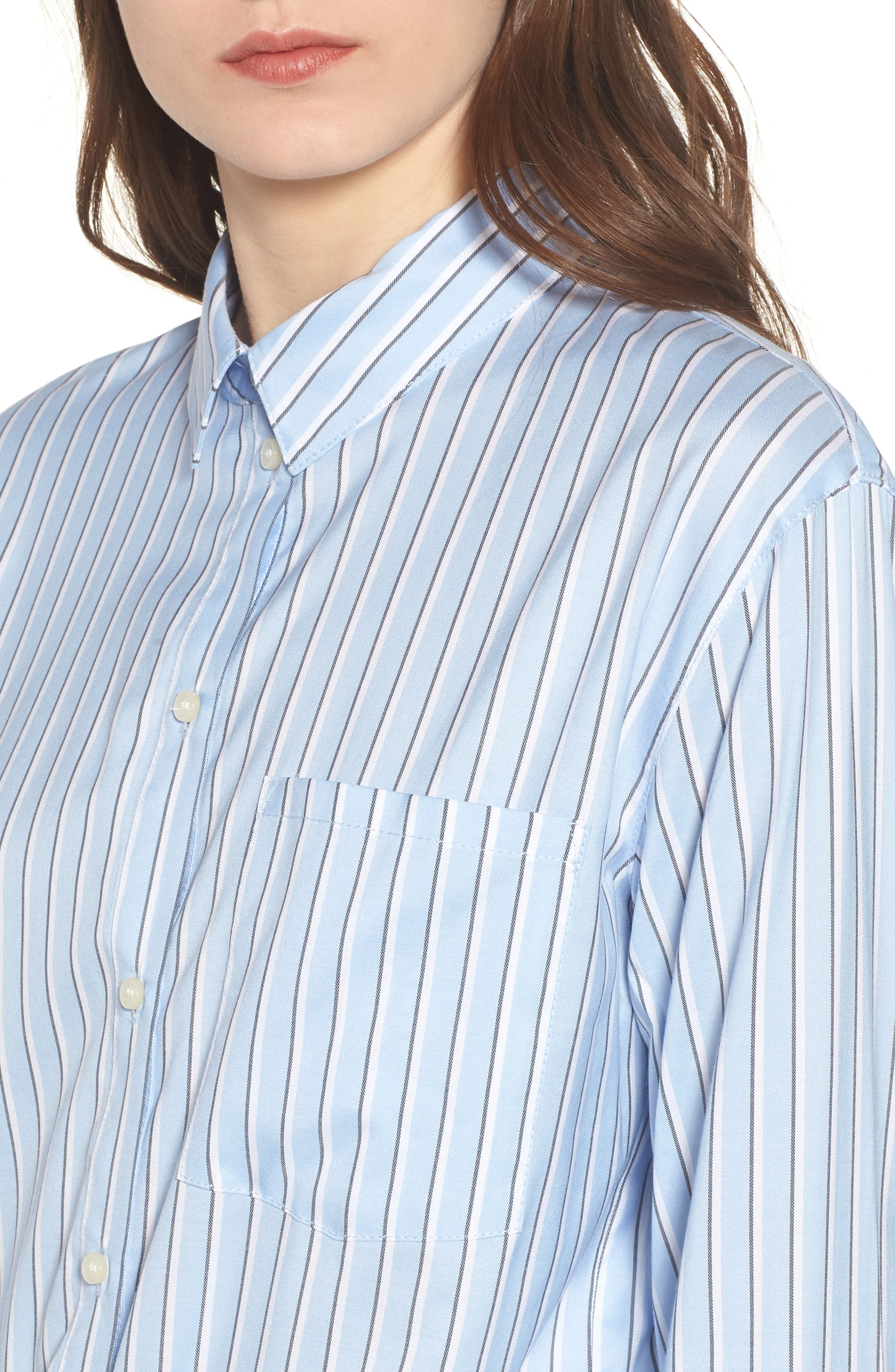Stripe Button Front Shirt,                             Alternate thumbnail 4, color,                             Blue Brunnera Groove Stripe