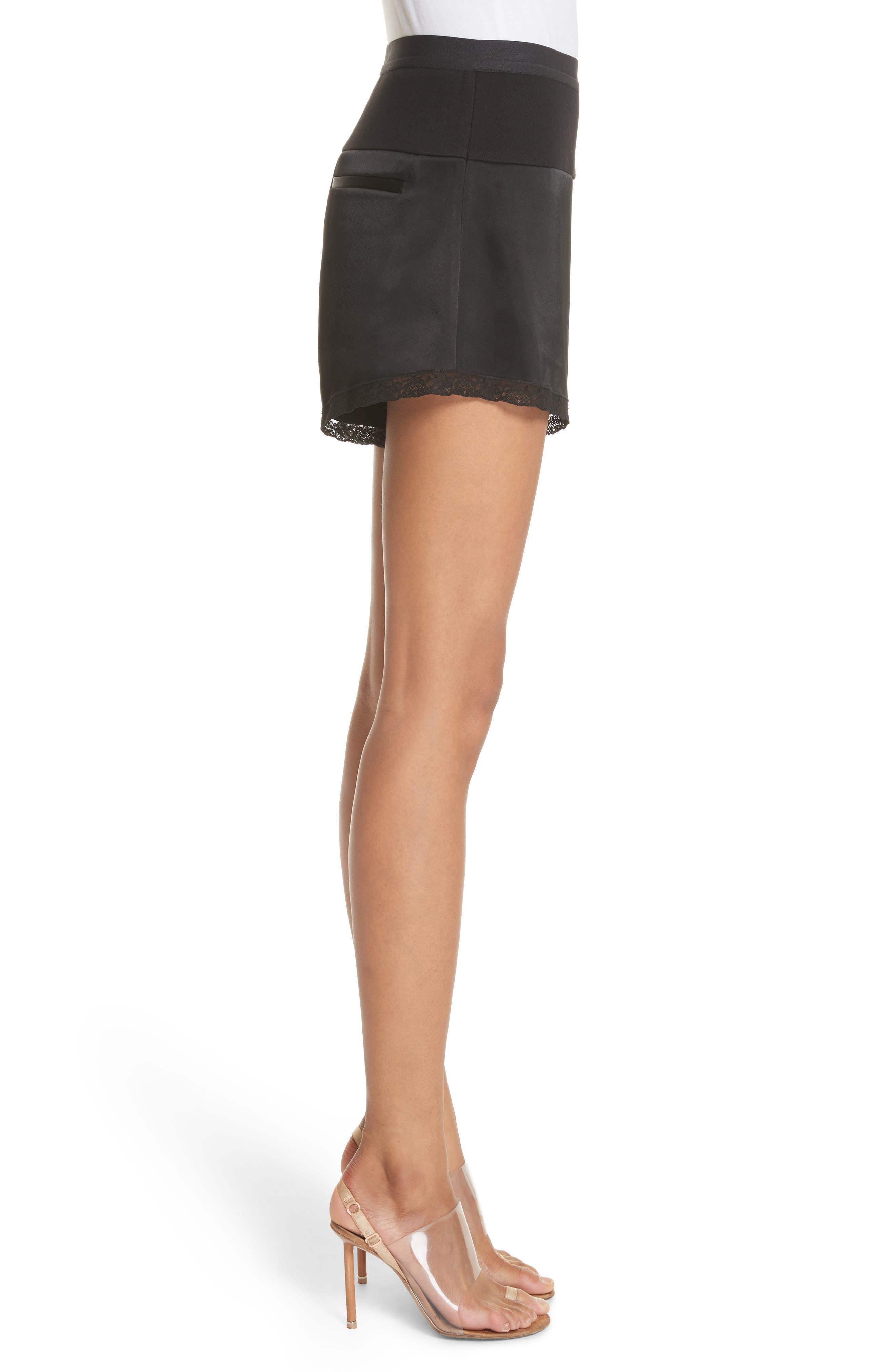 Lace Trim Satin Shorts,                             Alternate thumbnail 3, color,                             Black