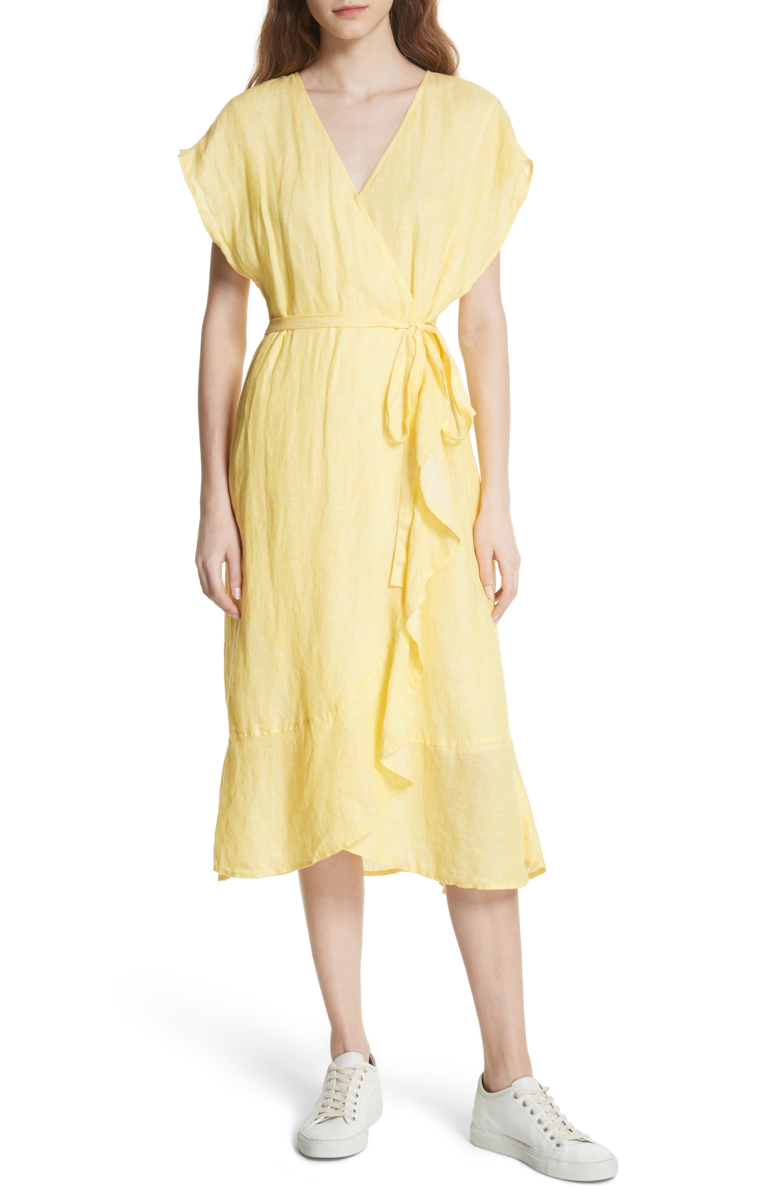 Joie Filma Back Cutout Linen Wrap Dress