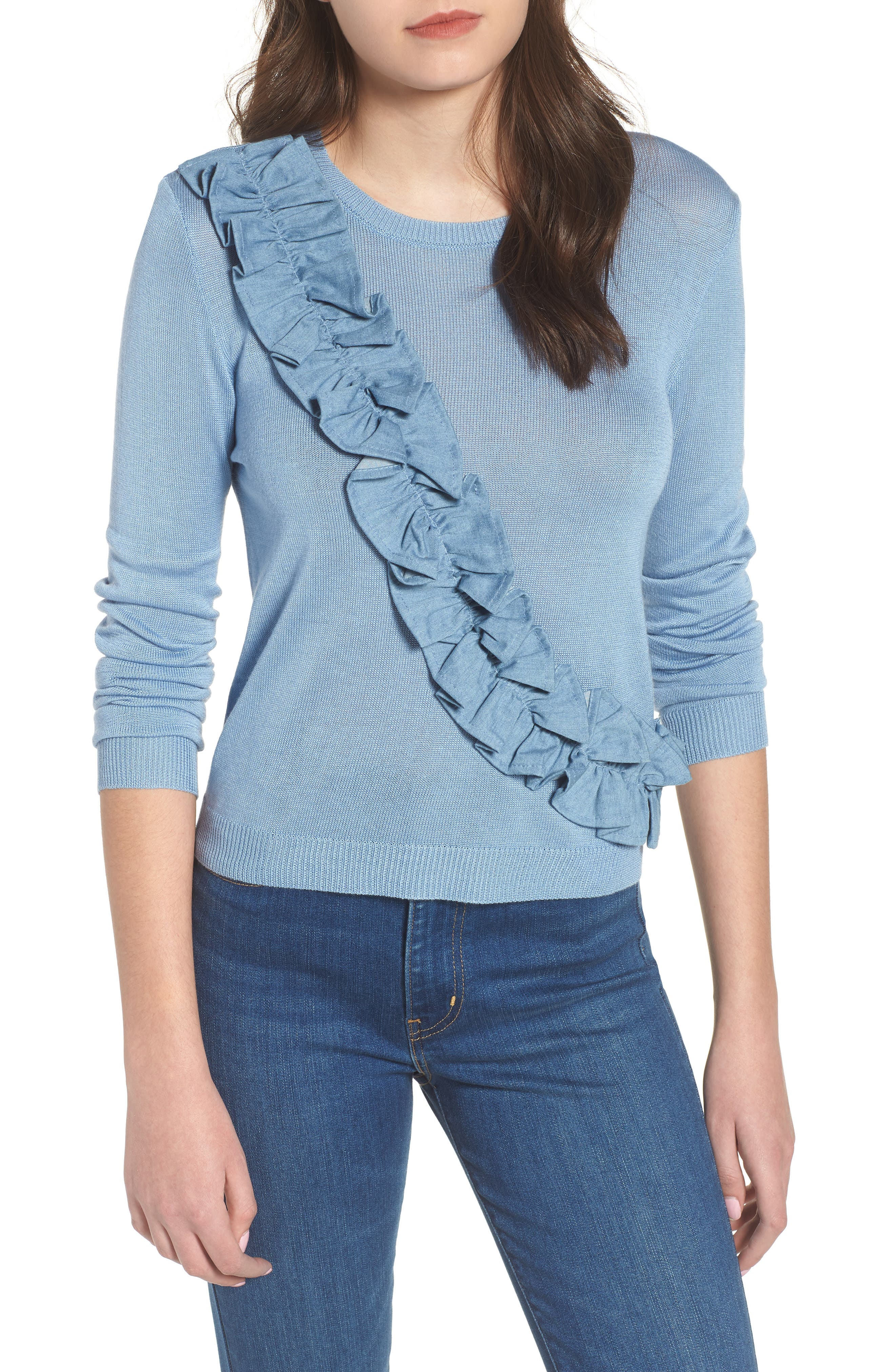 Asymmetrical Ruffle Sweater,                         Main,                         color, Blue