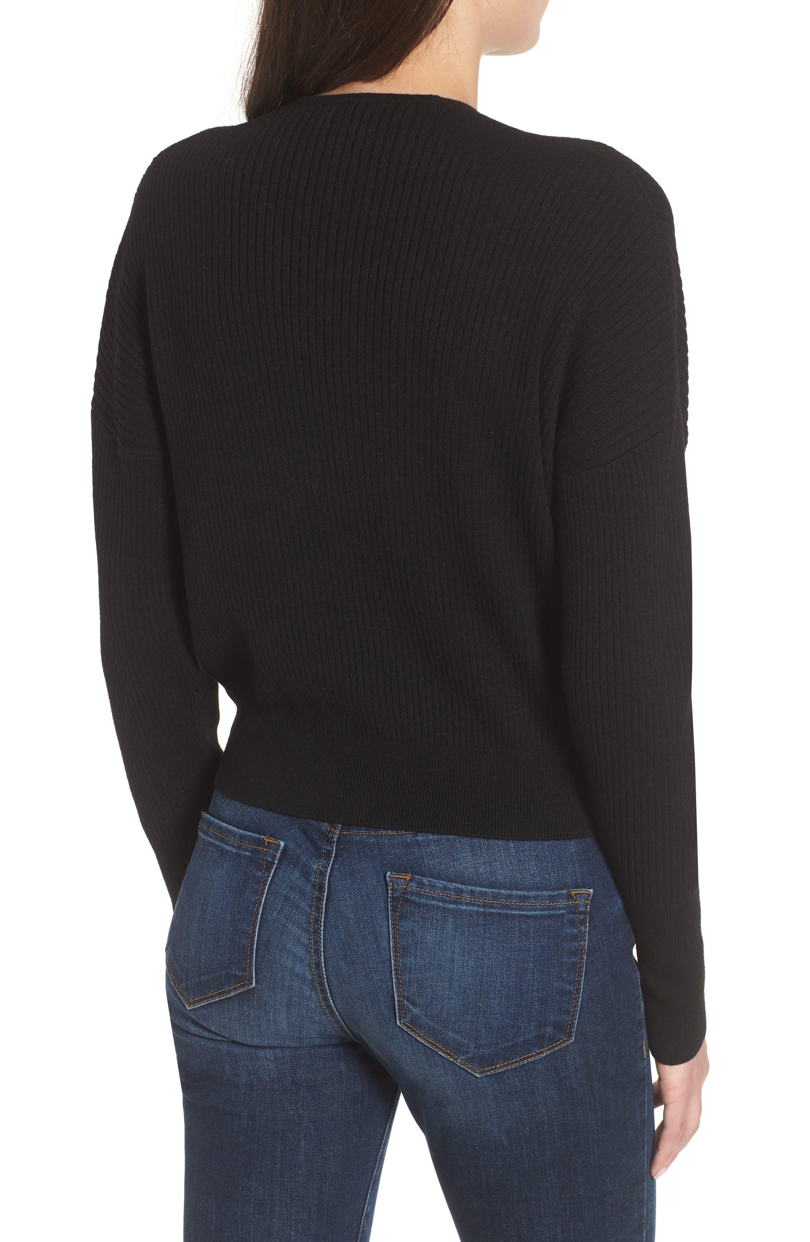 Rib Wrap Sweater,                             Alternate thumbnail 2, color,                             Black