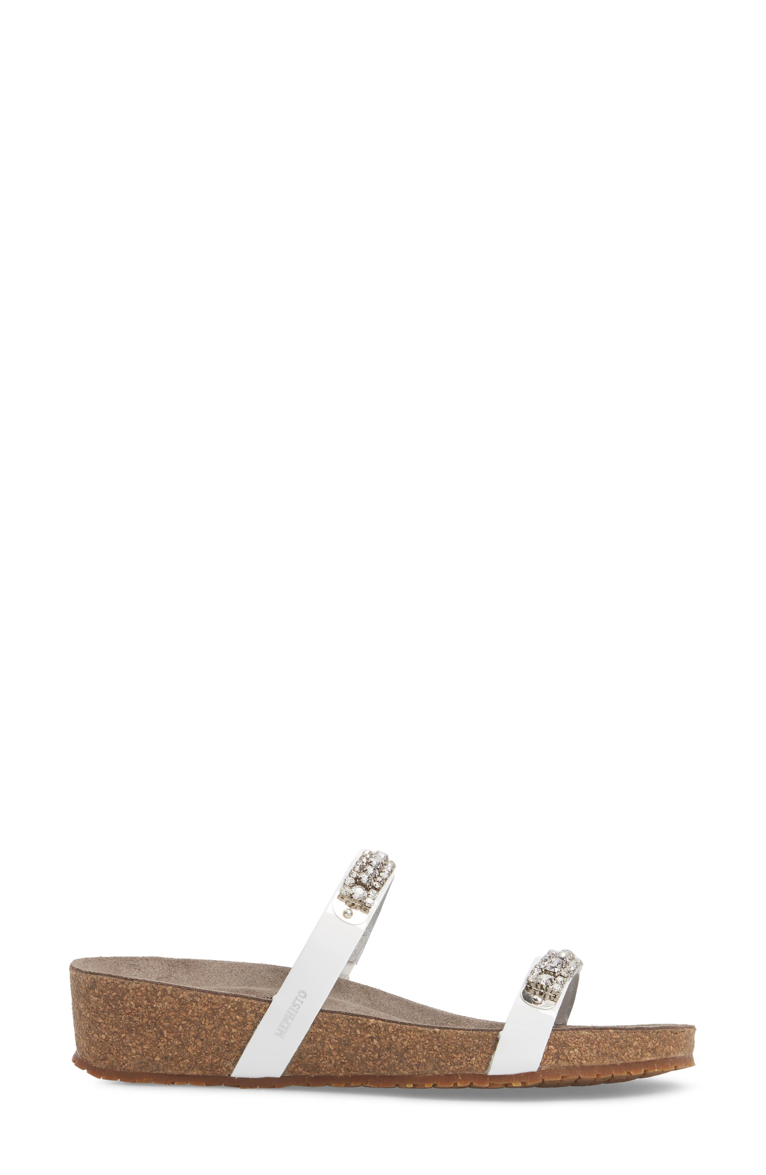'Ivana' Crystal Embellished Slide Sandal,                             Alternate thumbnail 3, color,                             White Patent