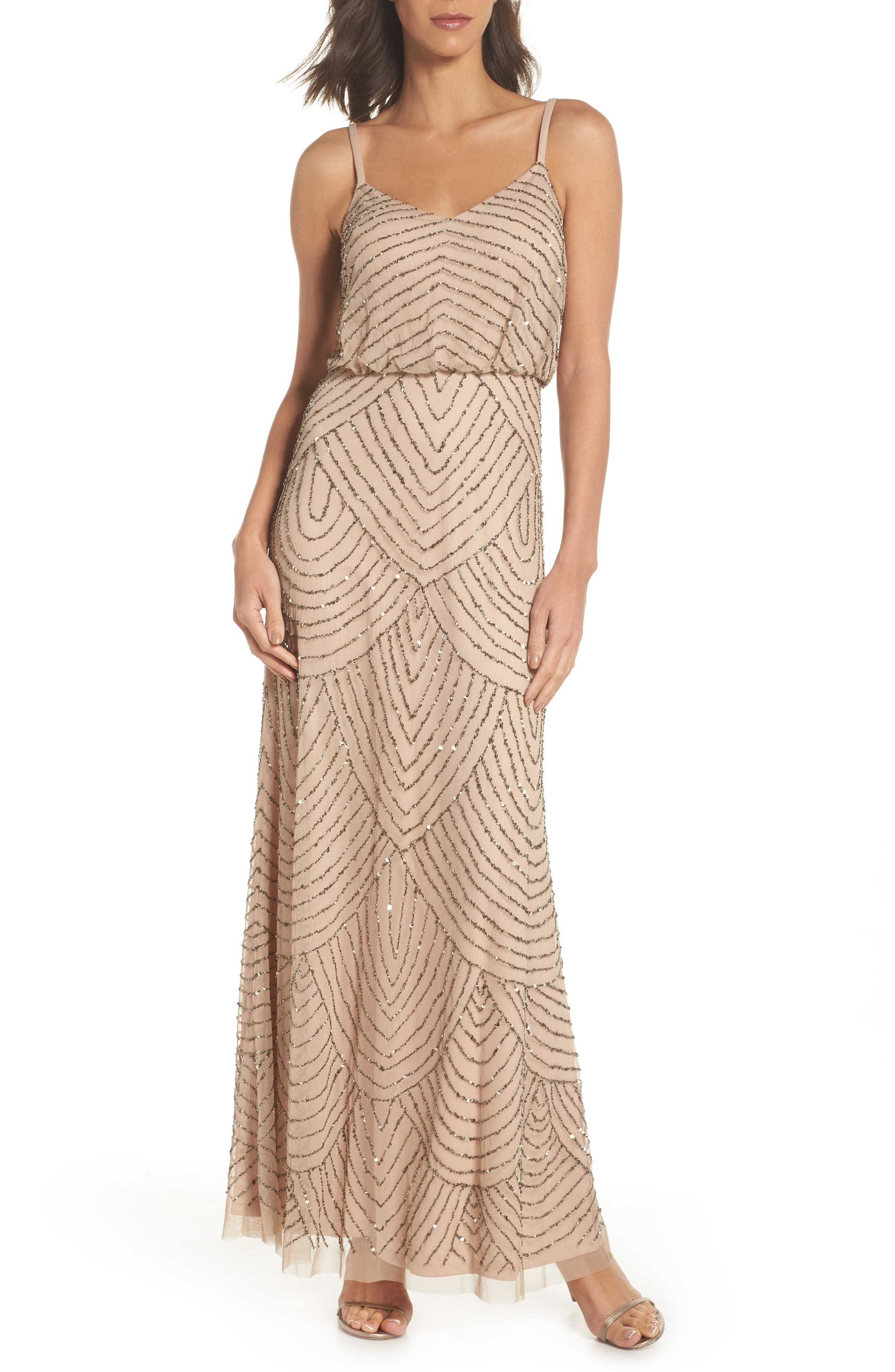 Embellished Blouson Gown,                         Main,                         color, Taupe/ Pink