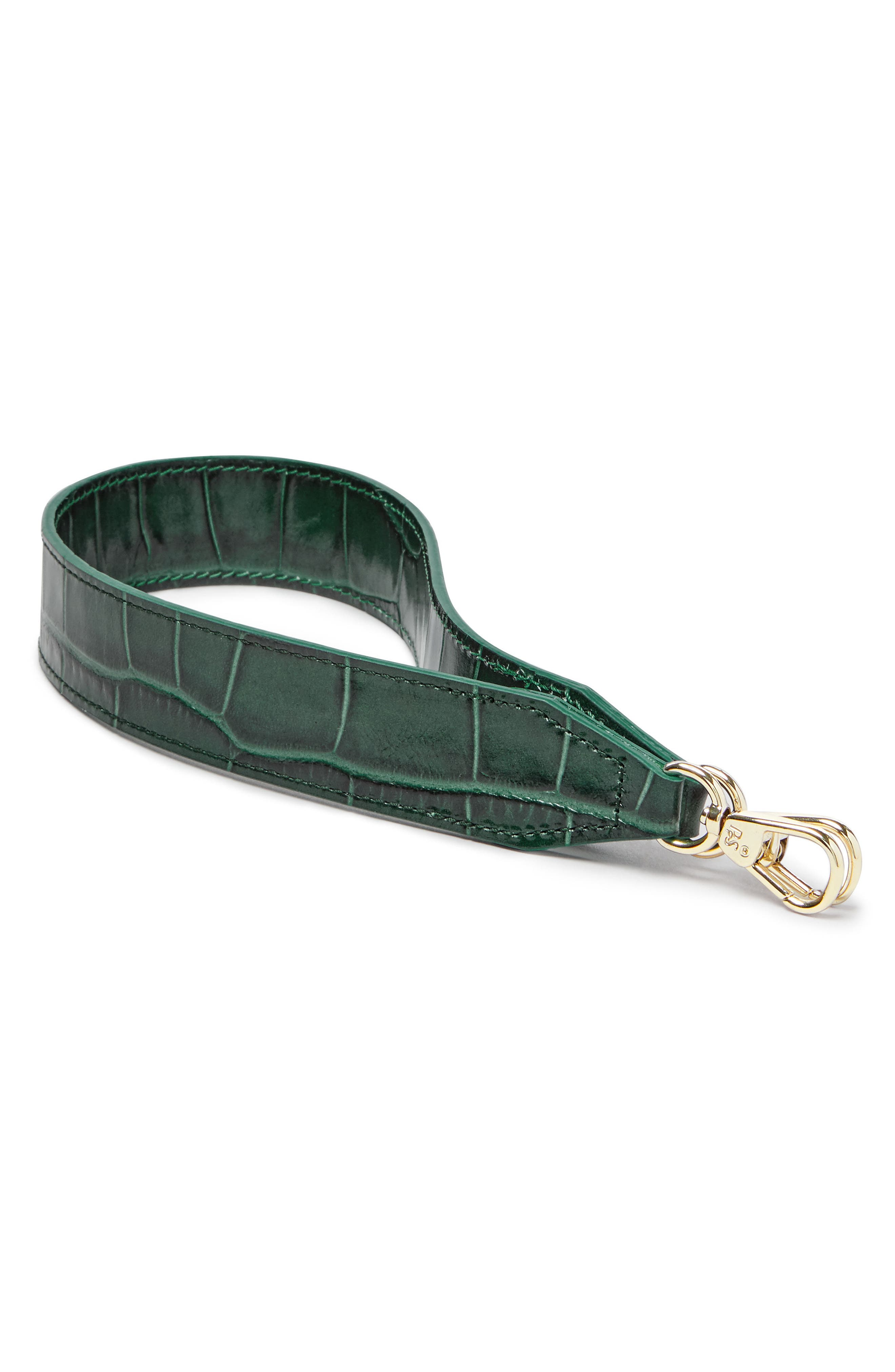 Croc Embossed Short Wide Strap,                             Main thumbnail 1, color,                             Emerald