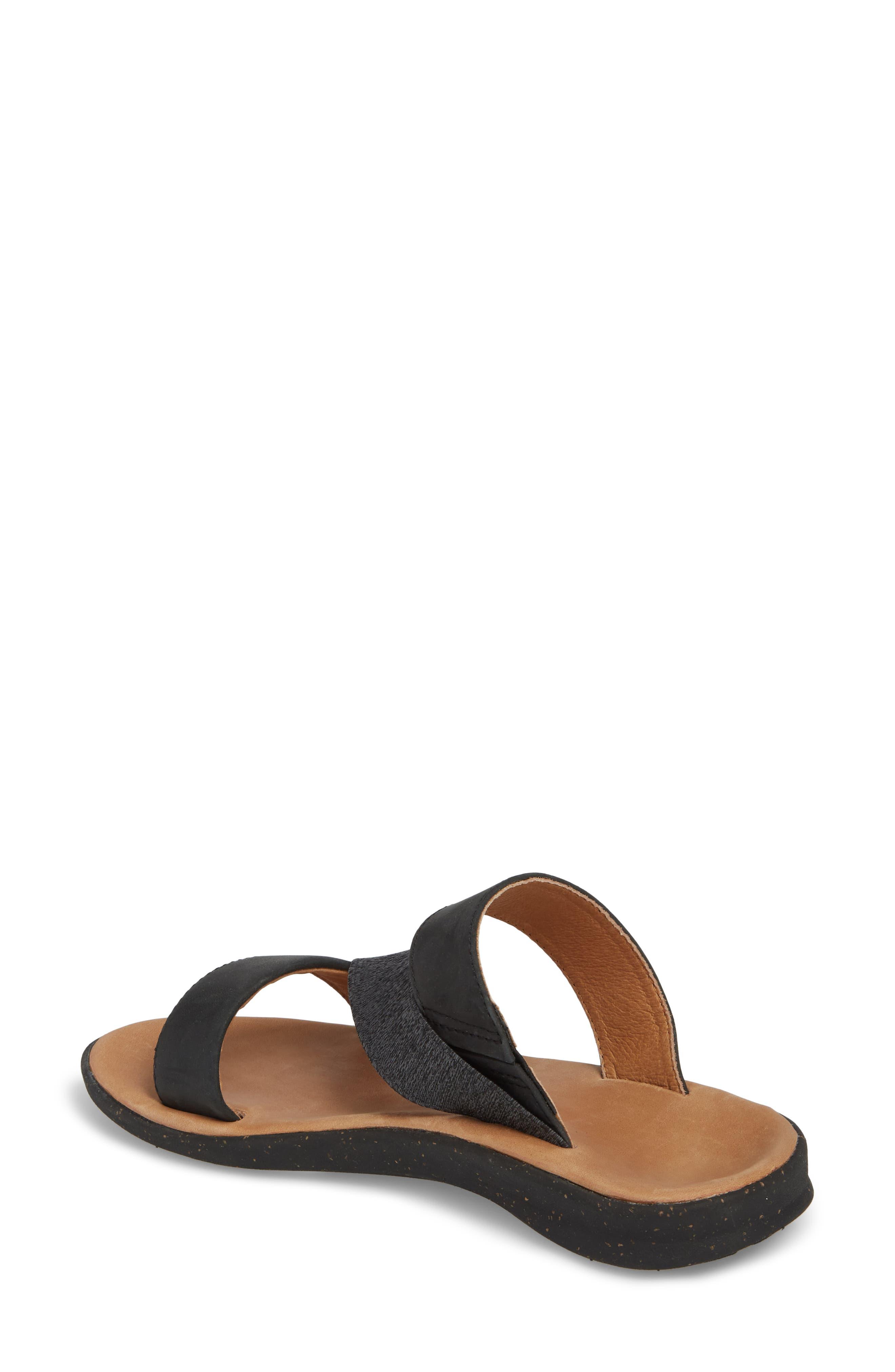 Reyes Slide Sandal,                             Alternate thumbnail 2, color,                             Black Leather