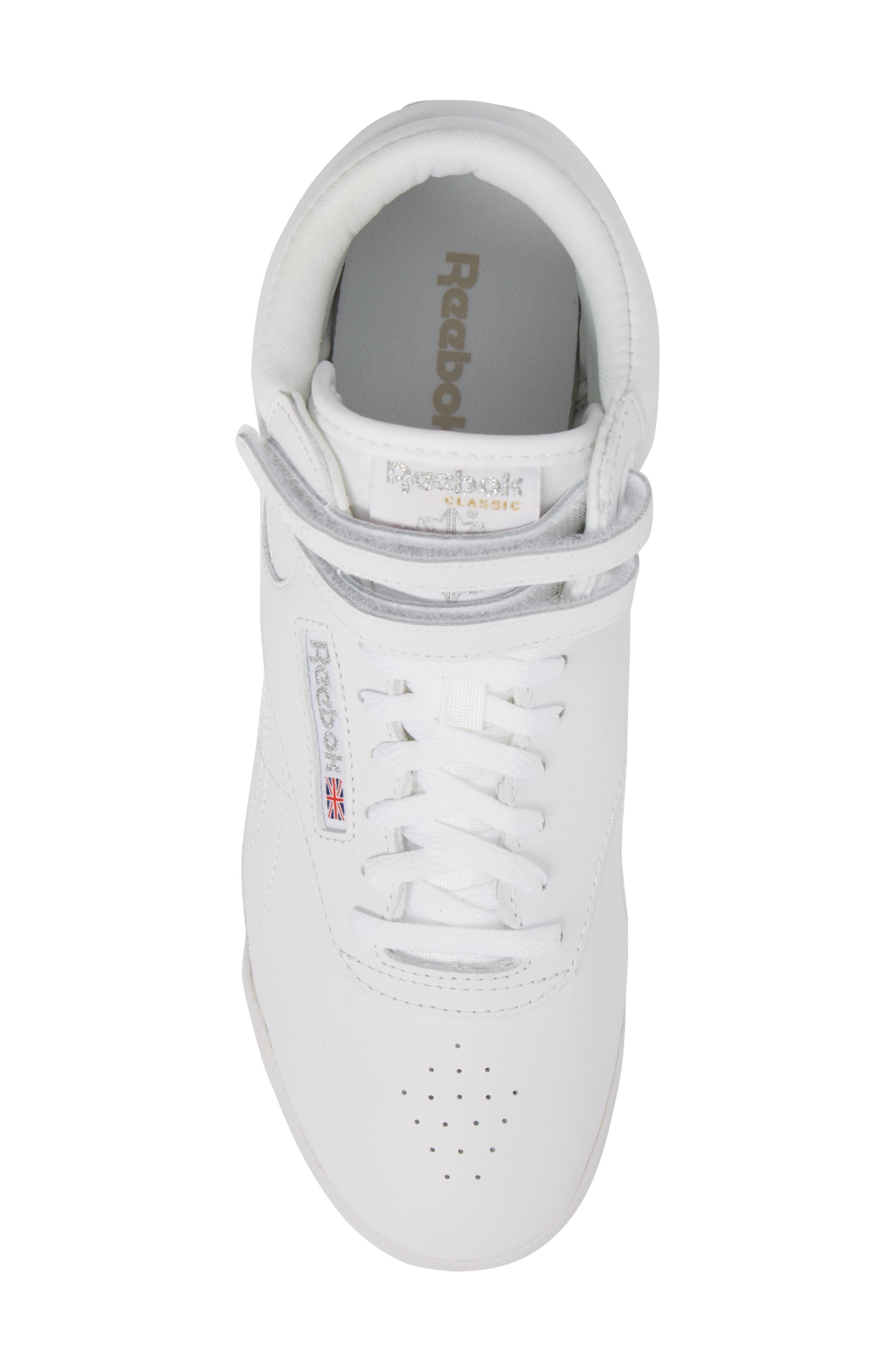 Freestyle Hi Sneaker,                             Alternate thumbnail 5, color,                             White/ Silver