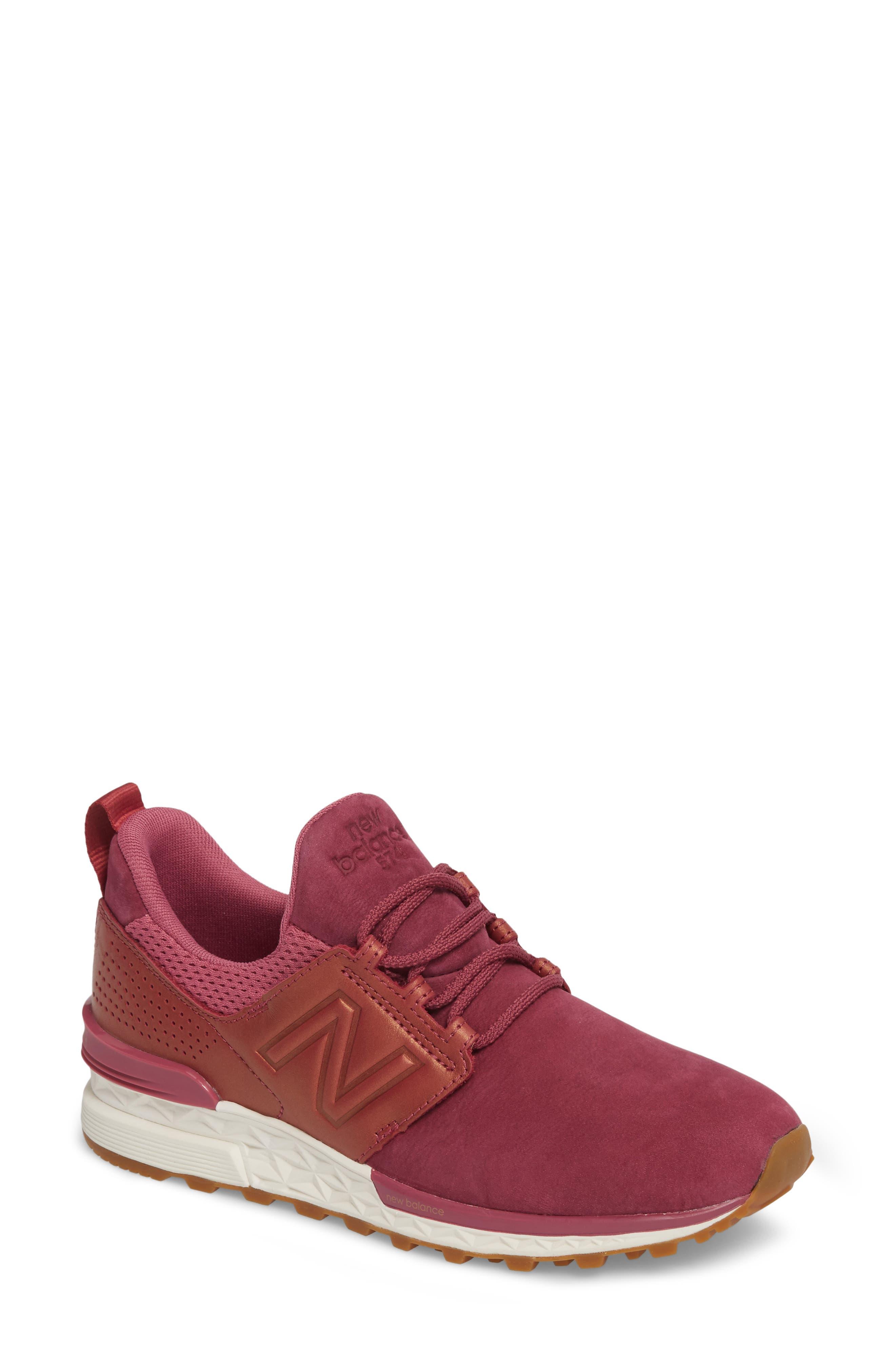 Nubuck 574 Sport Sneaker,                             Main thumbnail 1, color,                             Dragon Fruit
