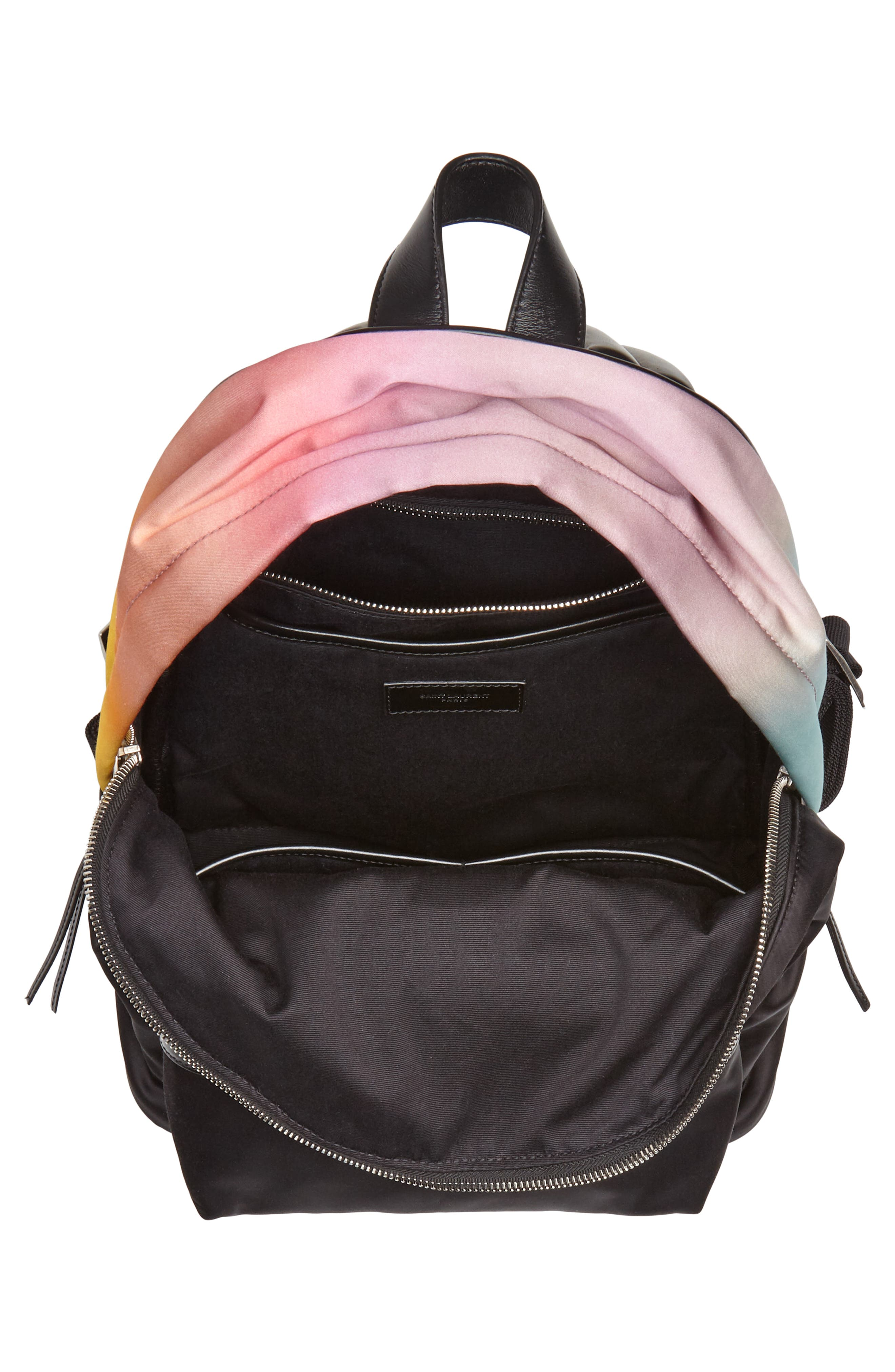 City Ombré Print Satin Backpack,                             Alternate thumbnail 4, color,                             Pink Multi