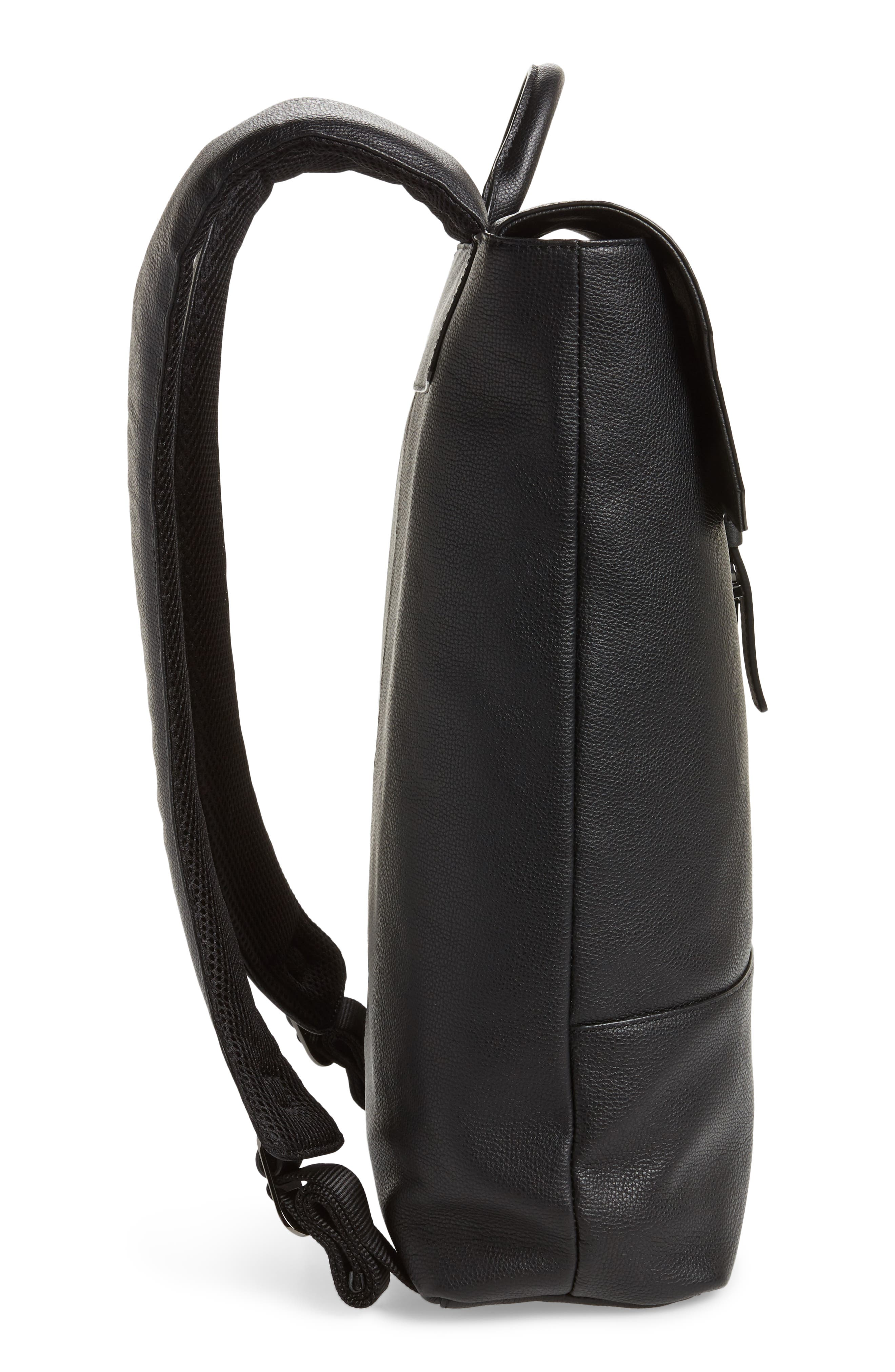 Beach Leather Backpack,                             Alternate thumbnail 5, color,                             Black