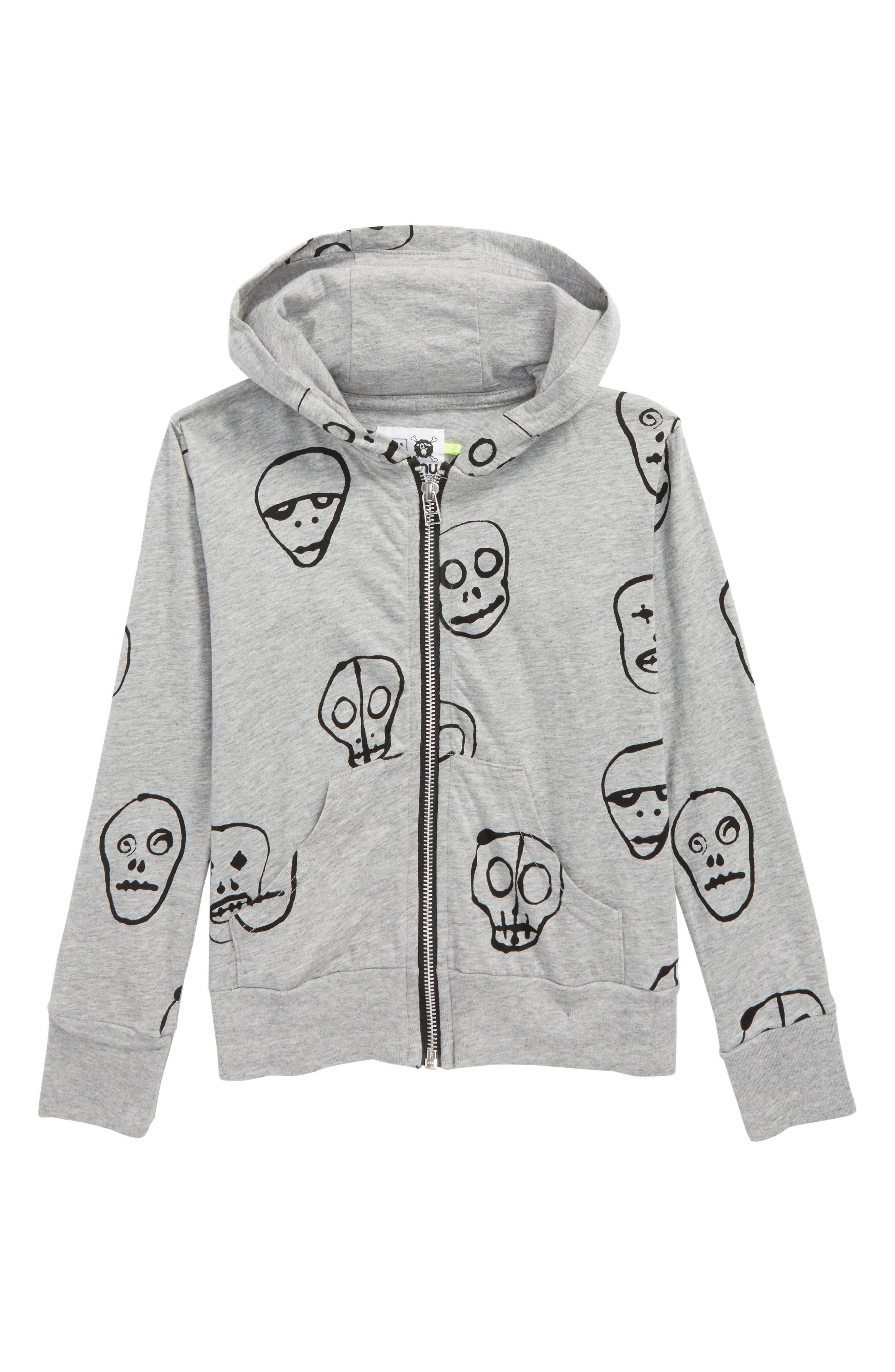 Skull Mask Zip Front Hoodie,                         Main,                         color, Heather Grey