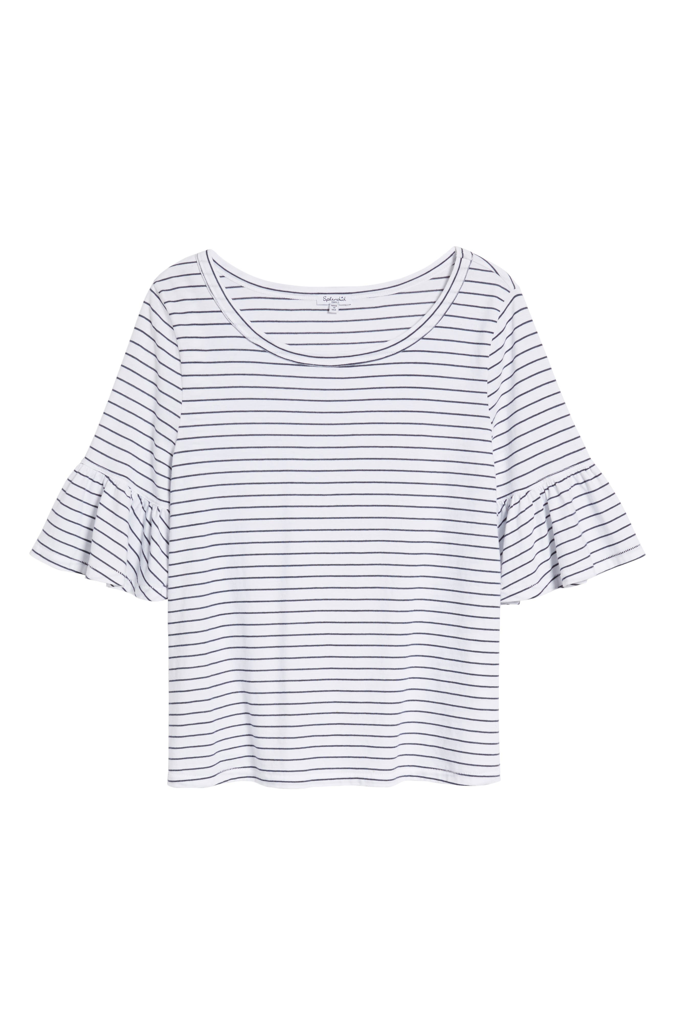 Stripe Ruffle Sleeve Tee,                             Alternate thumbnail 7, color,                             White/ Navy
