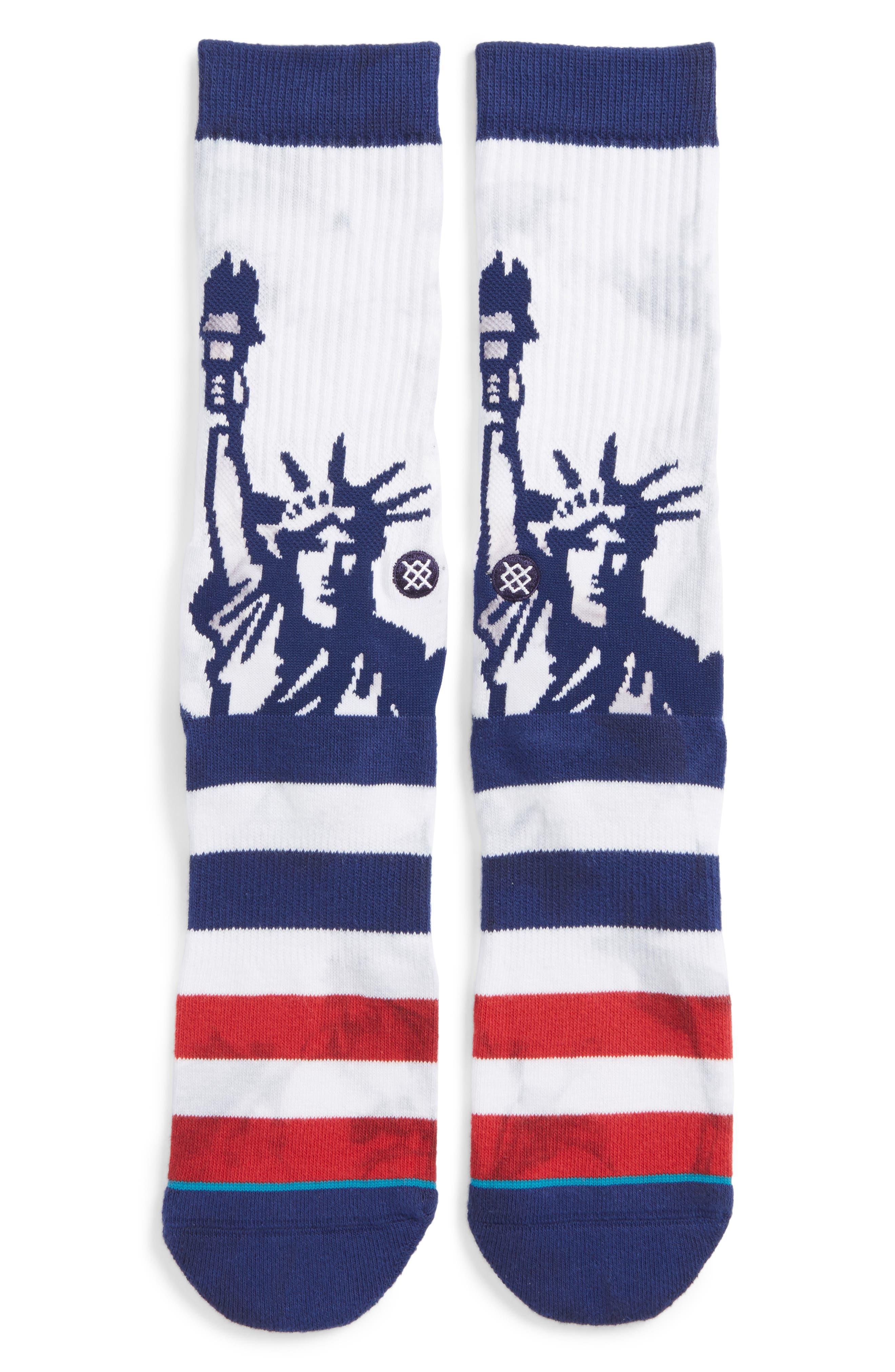 Liberties Crew Socks,                         Main,                         color, White/ Blue Multi
