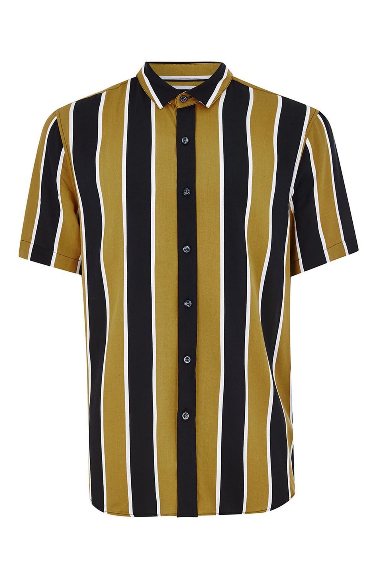 Stripe Viscose Shirt,                             Alternate thumbnail 4, color,                             Mustard Multi