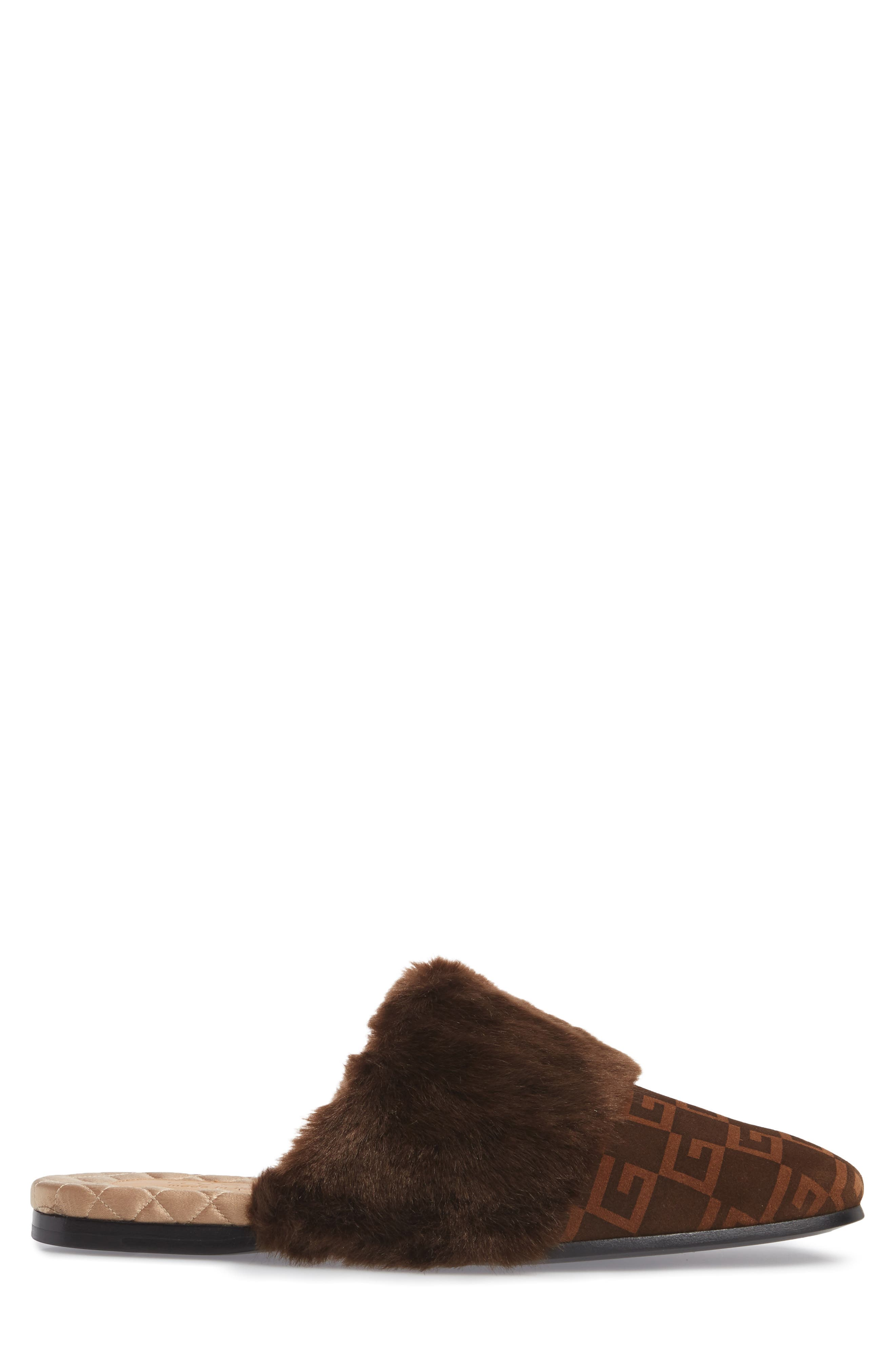 Lawrence Square-G Faux Fur Slipper,                             Alternate thumbnail 3, color,                             Brown/ Sigaro