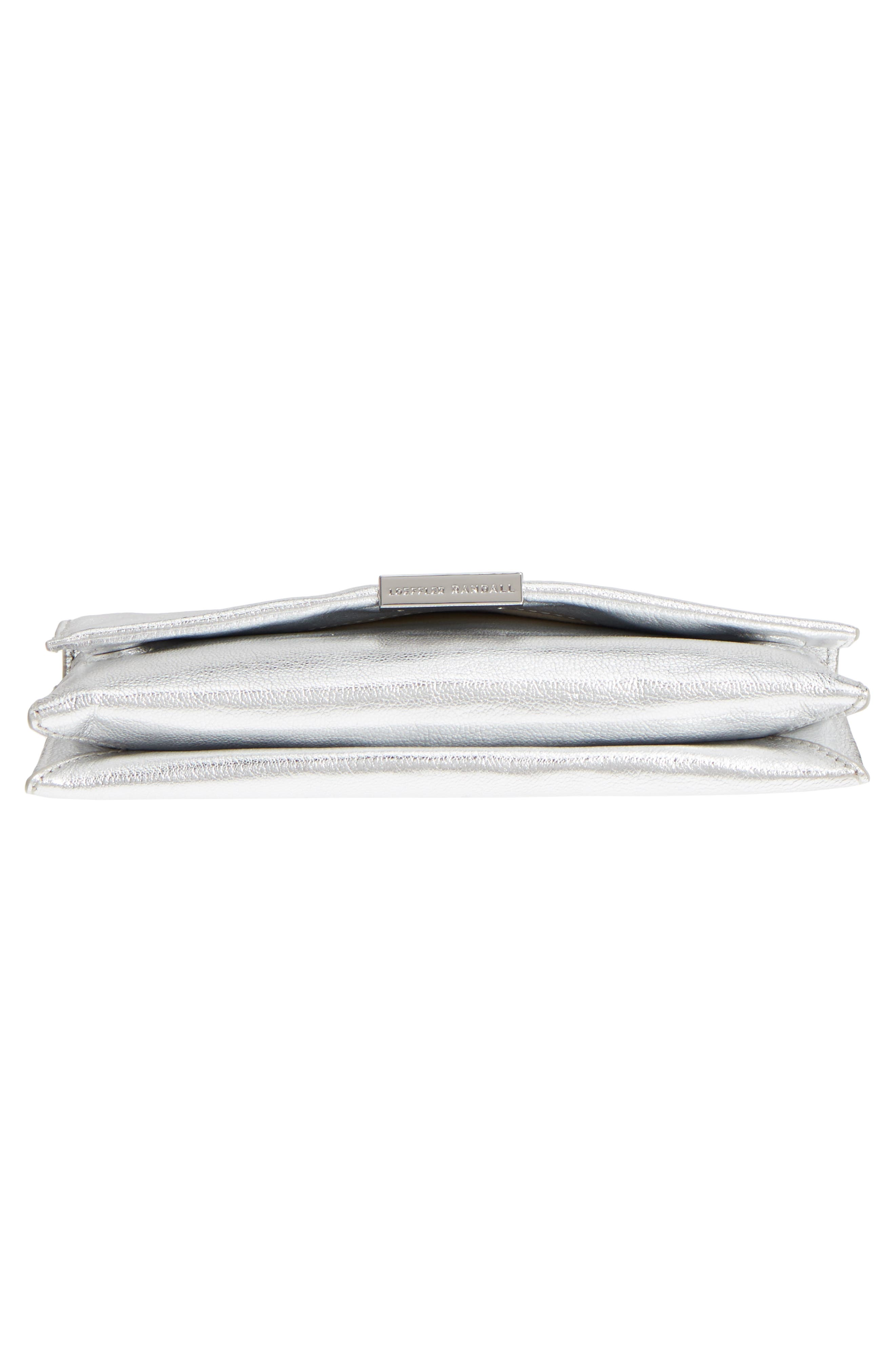 Leather Tab Clutch,                             Alternate thumbnail 6, color,                             Silver