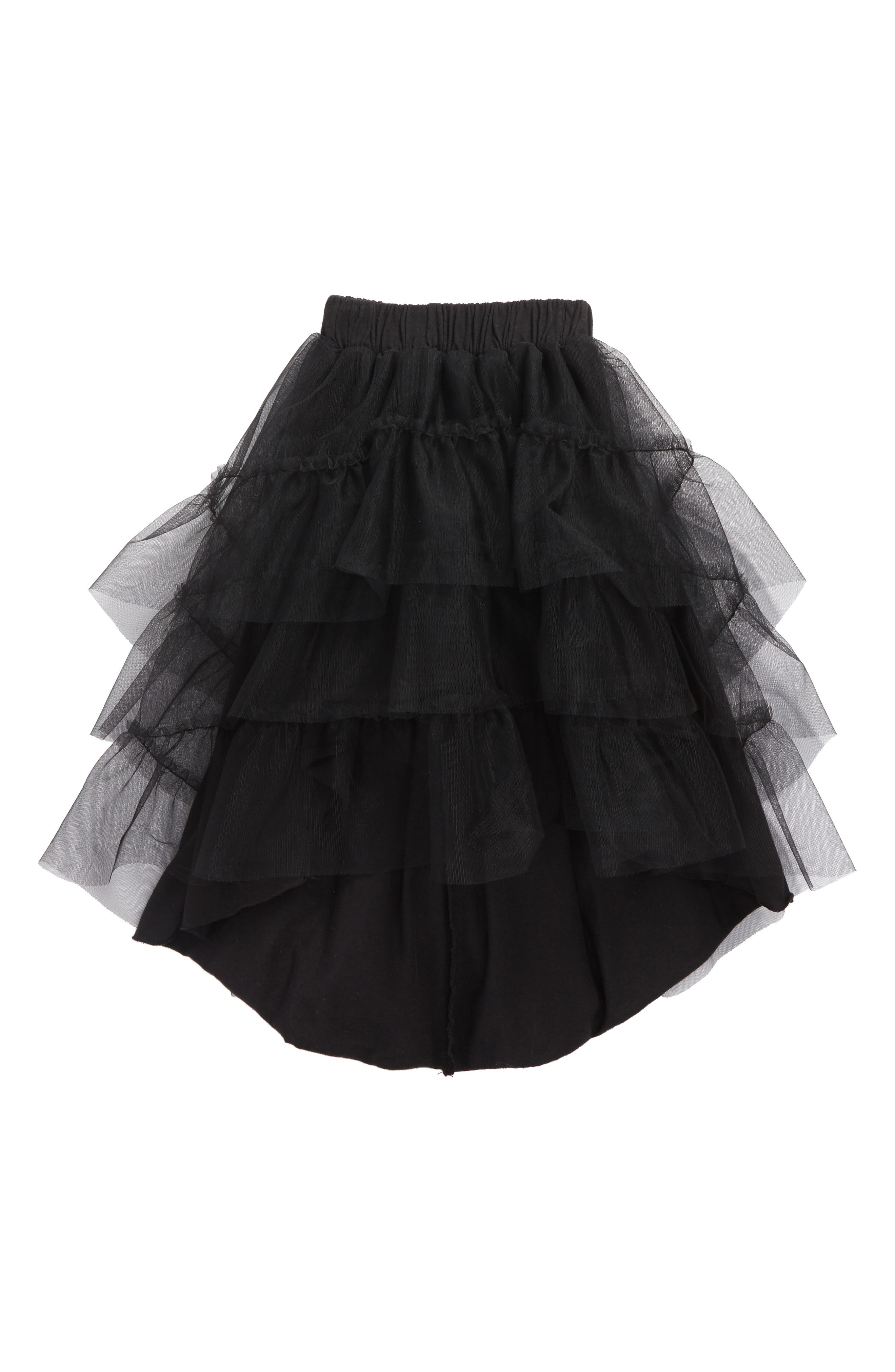 Tulle Skirt,                         Main,                         color, Dyed Black