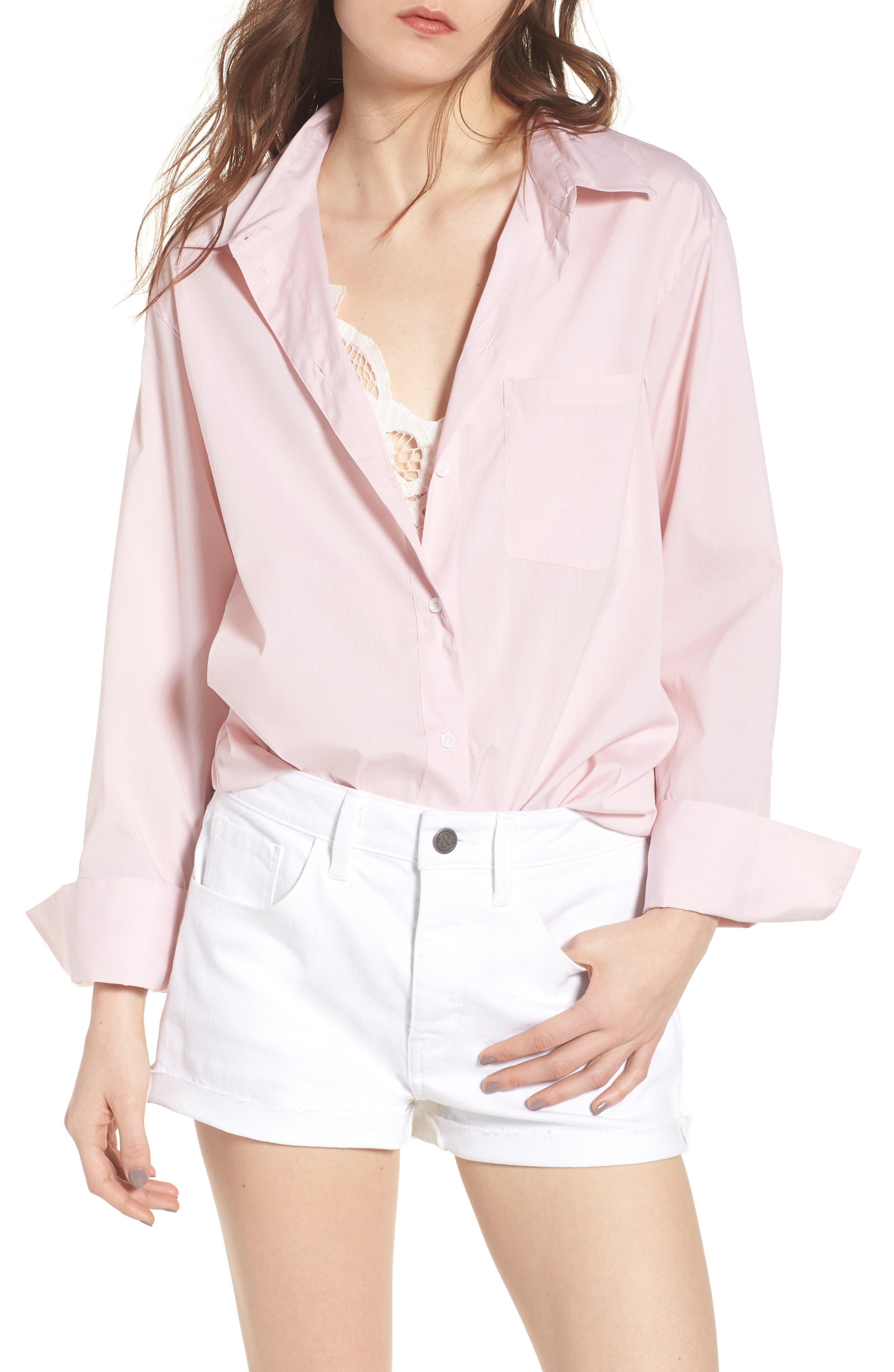 Loose Sleeve Poplin Tunic Shirt,                             Main thumbnail 1, color,                             Pink Silver Micro Stripe