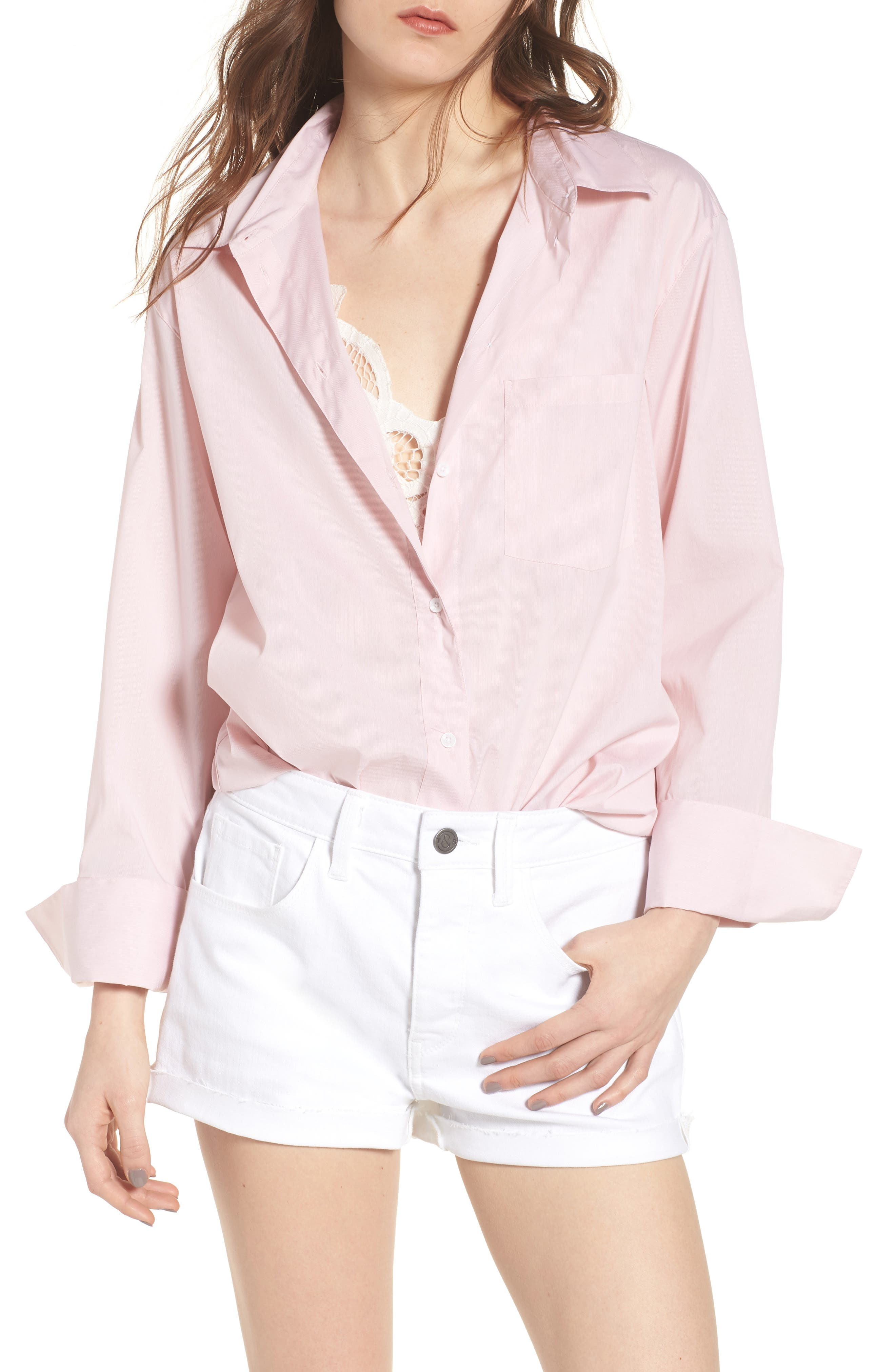 Loose Sleeve Poplin Tunic Shirt,                         Main,                         color, Pink Silver Micro Stripe