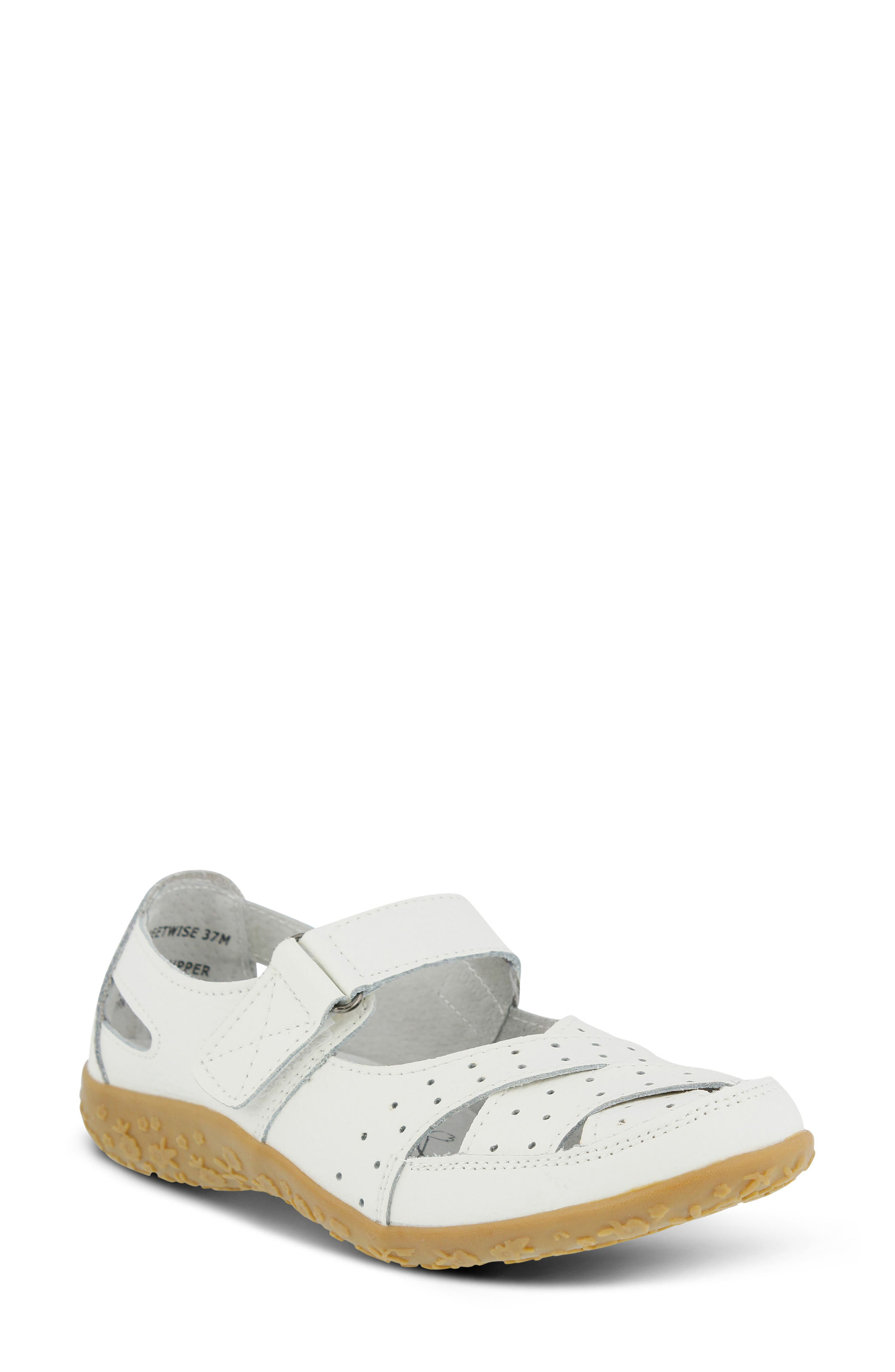 Streetwise Flat,                             Main thumbnail 1, color,                             White Leather